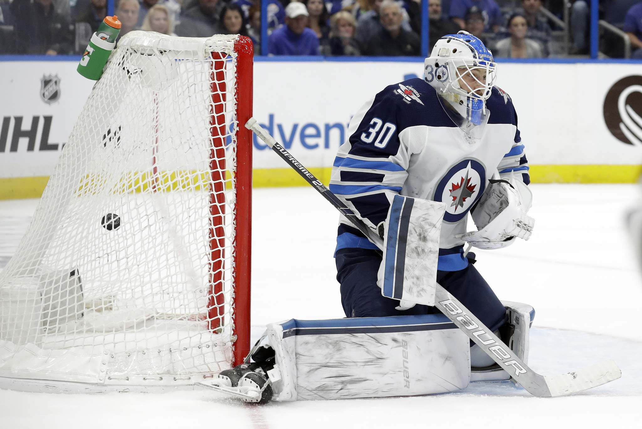 Tampa scored the winning goal on Laurent Brossoit Tuesday, so he was dinged with the loss in the stats column. He will start Friday in Carolina. (Chris O'Meara /The Associated Press files)</p>