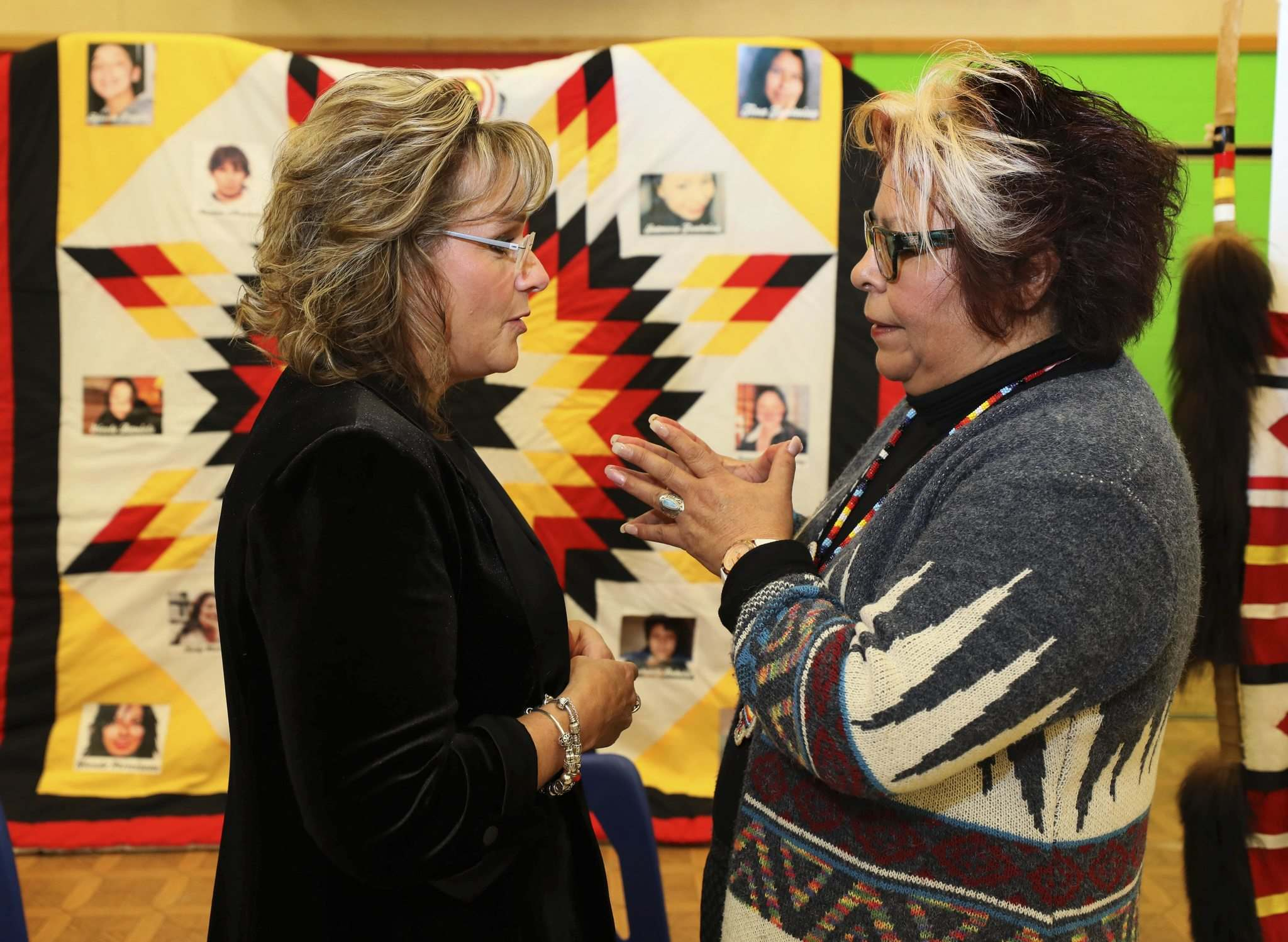 Manitoba Child Advocate Daphne Penrose gets a hug from Sagkeeng Coun. Marilyn Courchene, after Penrose released a report into the 2014 death of 14-year-old Tina Fontaine.</p><p>