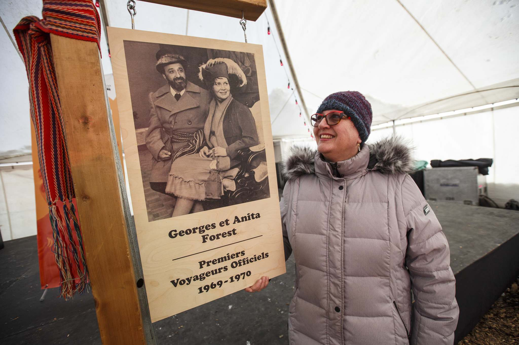 The Festival du Voyageur celebrated Georges Forest and his wife Anita this year. Their daughter Lise Forest (above) was on hand at the opening ceremony to honour the Festival co-founders. (Mike Deal / Winnipeg Free Press)</p>