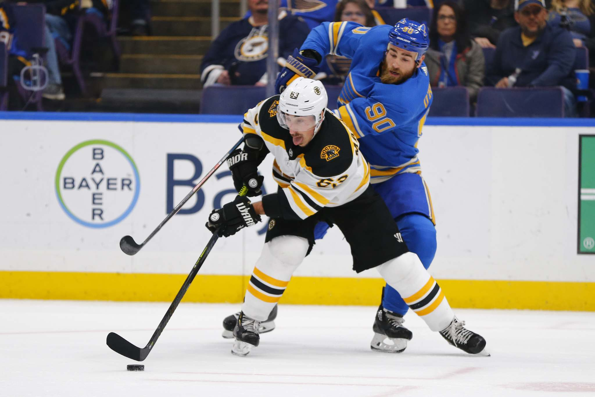 "AP Photo/Dilip Vishwanat</p><p>Boston Bruins' Brad Marchand, front, keeps the puck from St. Louis Blues' Ryan O'Reilly. Winnipeg Jets captain Blake Wheeler has nothing but respect for the Bruins' super-pest: ""(Marchand) is a great player, he plays extremely hard and he's always hard on the puck.""</p>"