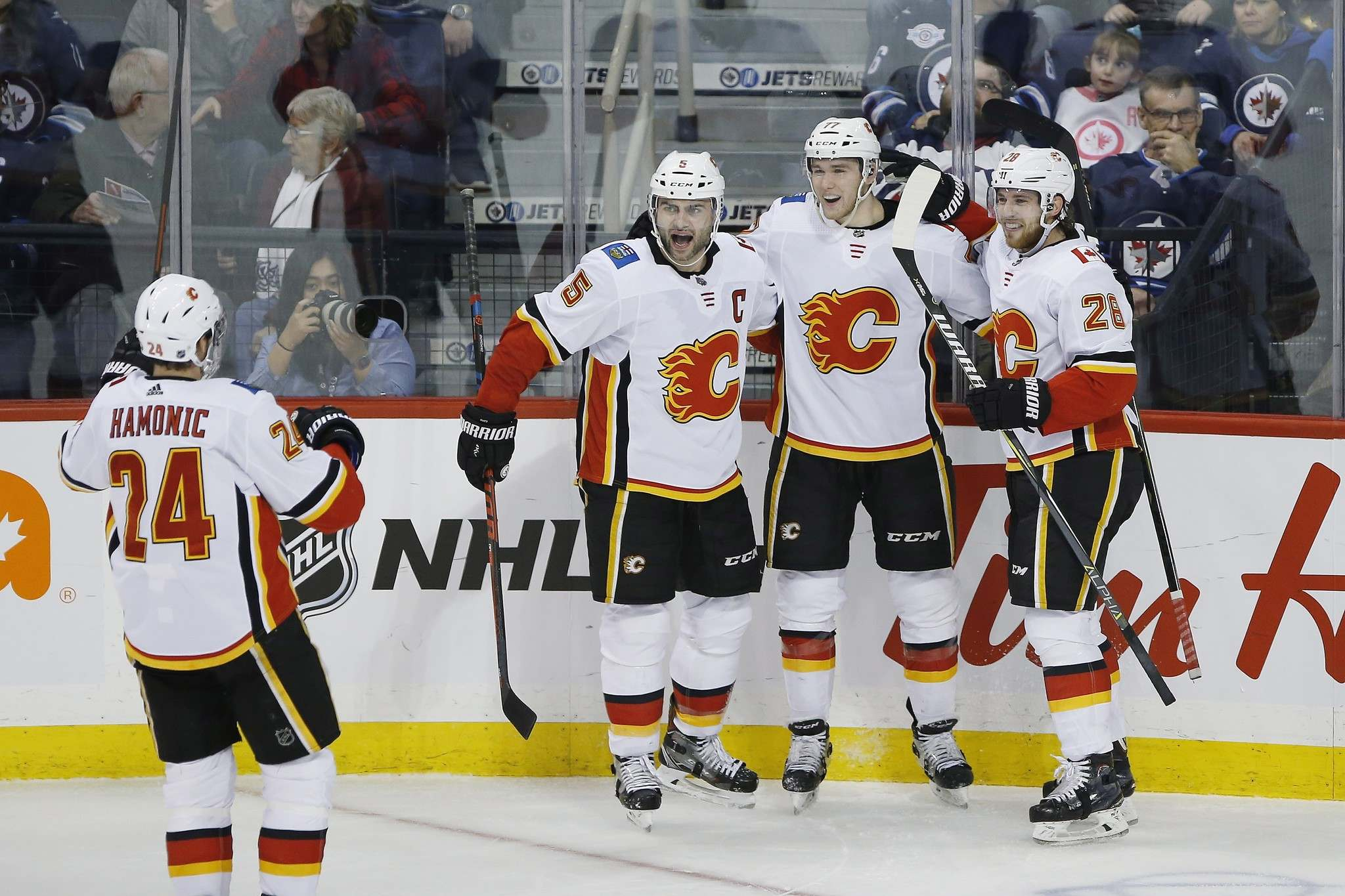 THE CANADIAN PRESS/John Woods</p><p>Calgary Flames players celebrate a goal against the Winnipeg Jets during the third period of their 4-1 victory over the Jets in Winnipeg last December. The Flames have owned the Jets so far this season and Winnipeg hopes to prevent a season sweep of the series when the Flames come to town Saturday.</p>