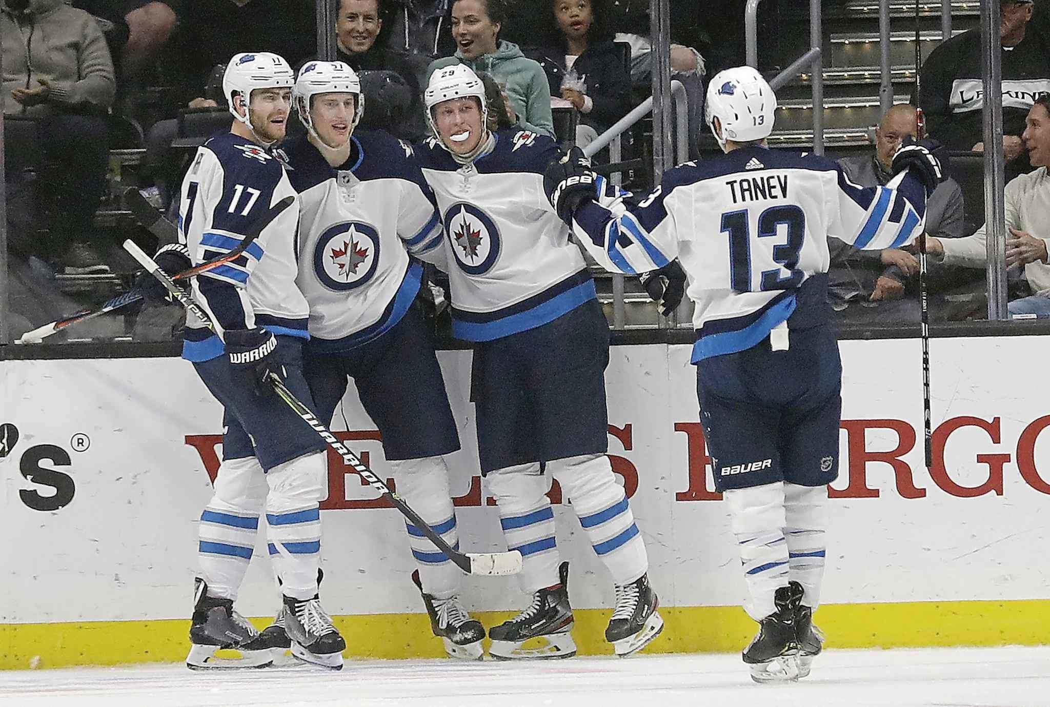 (AP Photo/Marcio Jose Sanchez)</p><p>Winnipeg Jets celebrate Tyler Myers' goal during the second period against the Los Angeles Kings Monday, in Los Angeles. </p>
