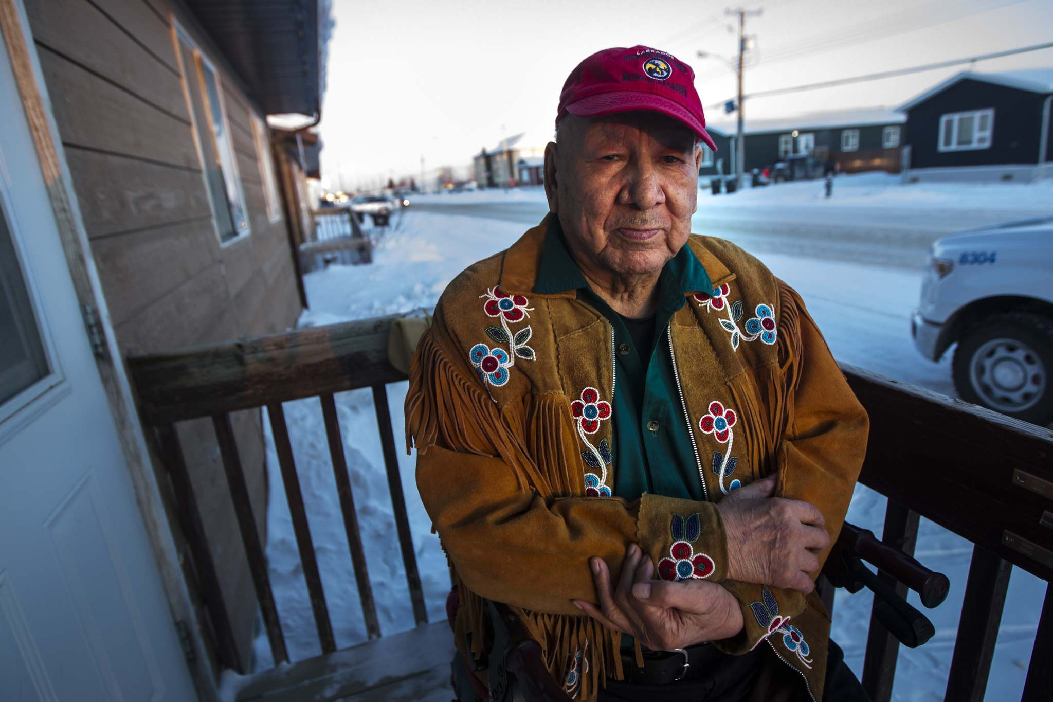 PHIL HOSSACK / WINNIPEG FREE PRESS</p><p>Fox Lake elder Zack Mayham sits on his front stoop in Gillam.</p>