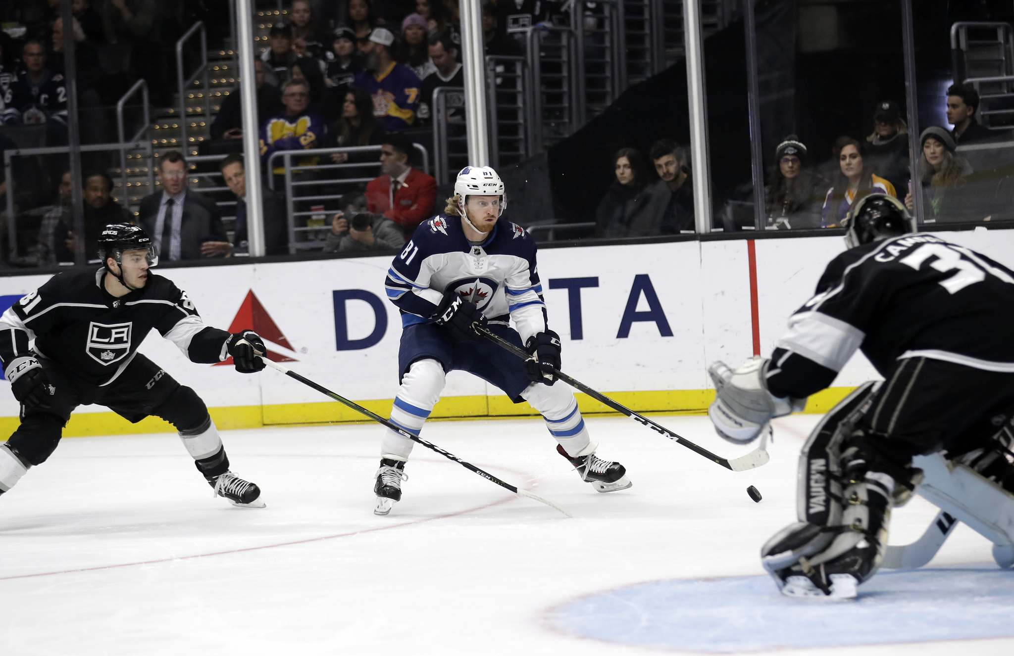 Kyle Connor scored his 28th of the season Monday as the Jets beat the Los Angeles Kings 3-2. (Marcio Jose Sanchez / The Associated Press)</p>