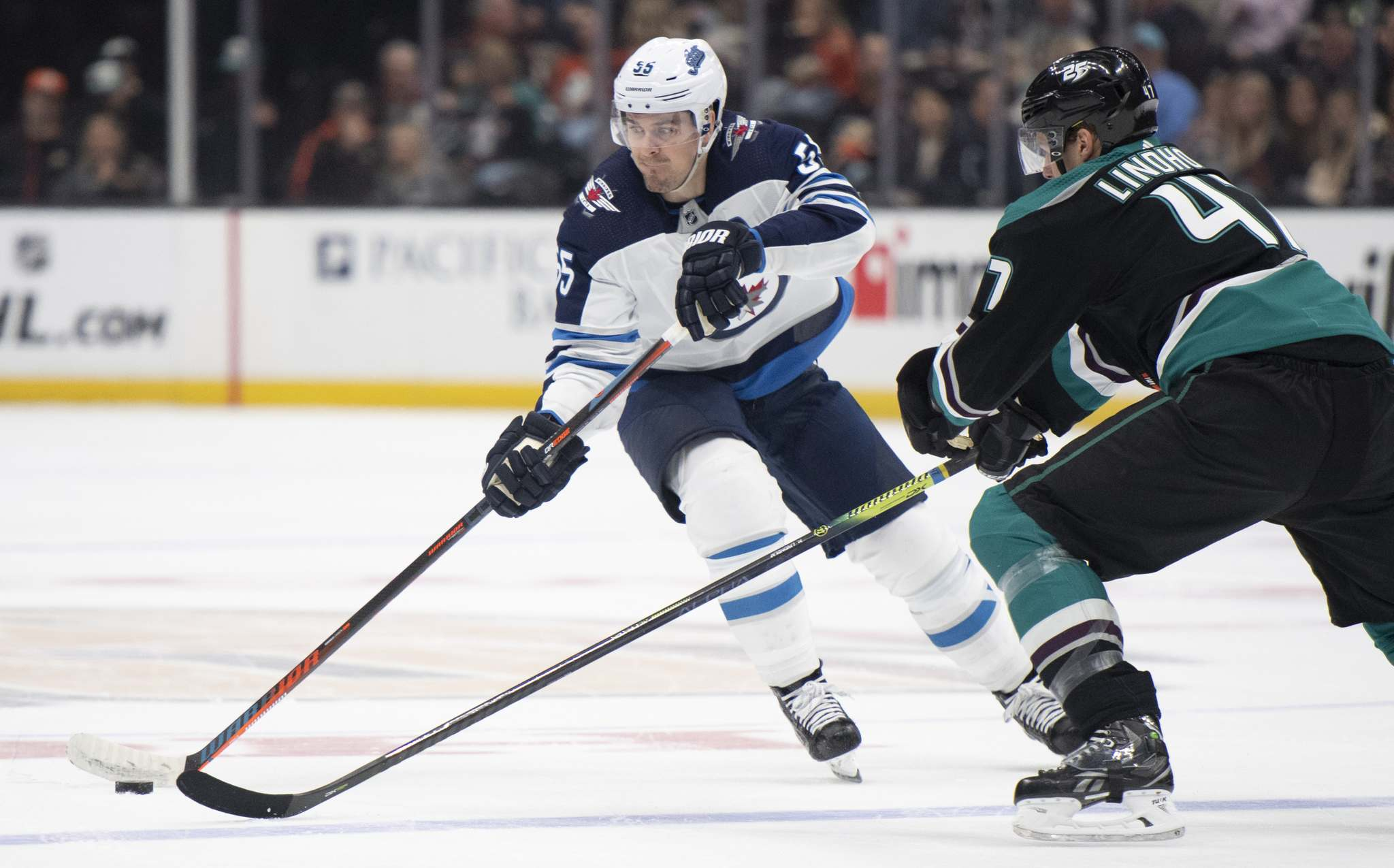 (AP Photo/Kyusung Gong)</p><p>Winnipeg Jets centre Mark Scheifele, left, on the team&#39;s win against the Anaheim Ducks, Wednesday: &#34;It definitely wasn&rsquo;t our best game, but we&rsquo;re happy to get the win and move on.&#34;</p>