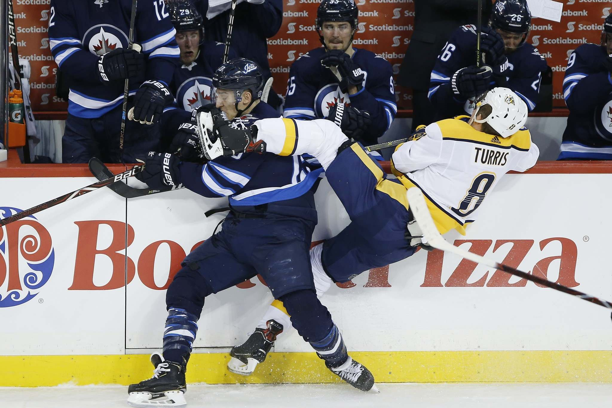 The Winnipeg Jets and Nashville Predators aren't what you would call fond of each other. (John Woods / The Canadian Press files)</p>
