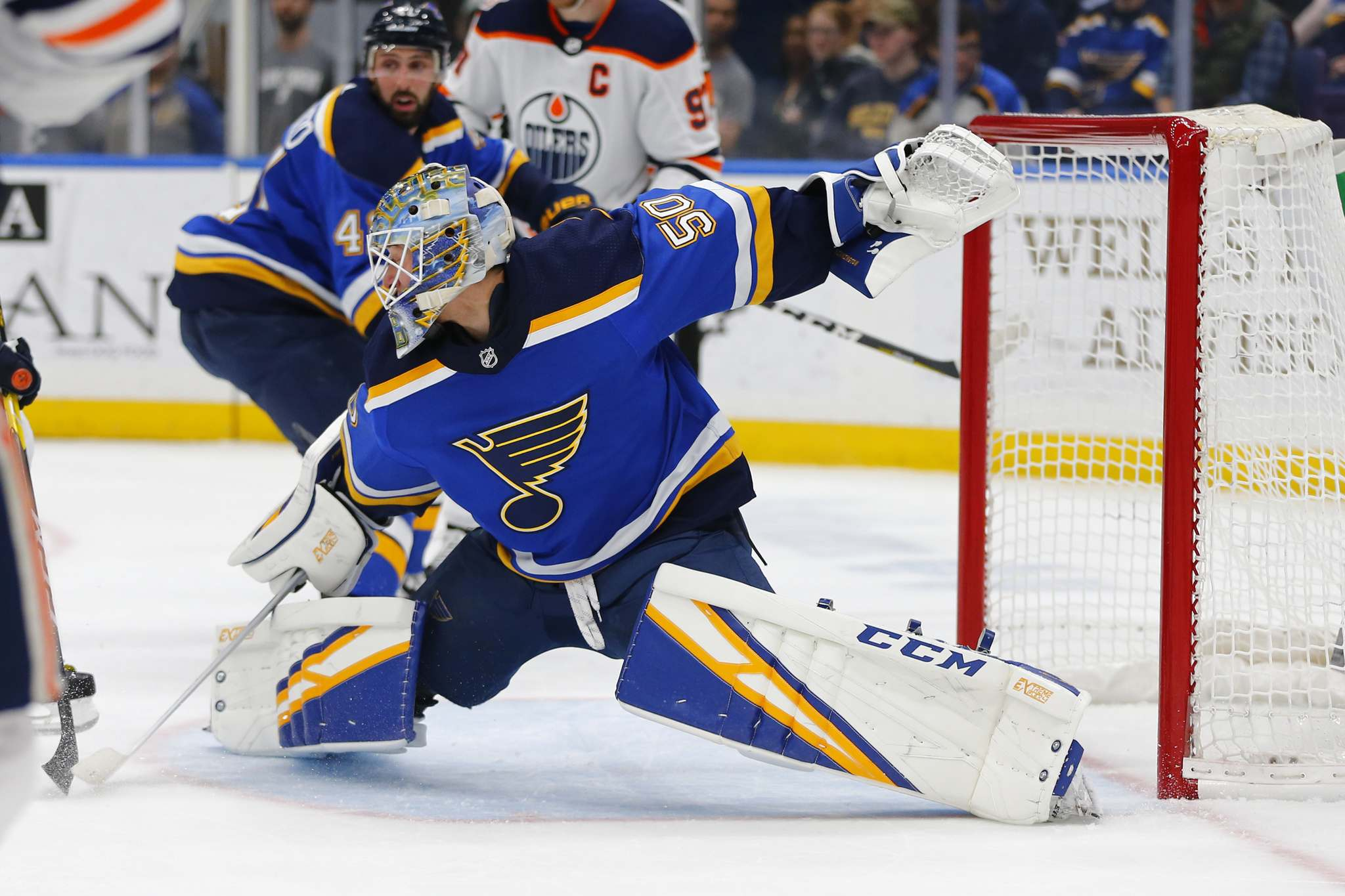 "St. Louis Blues' goalie Jordan Binnington has won 19 of 24 starts and has a 1.79 GAA and 929 S%. (Dilip Vishwanat / The Associated Press files)</p> <p>""></a><figcaption readability="