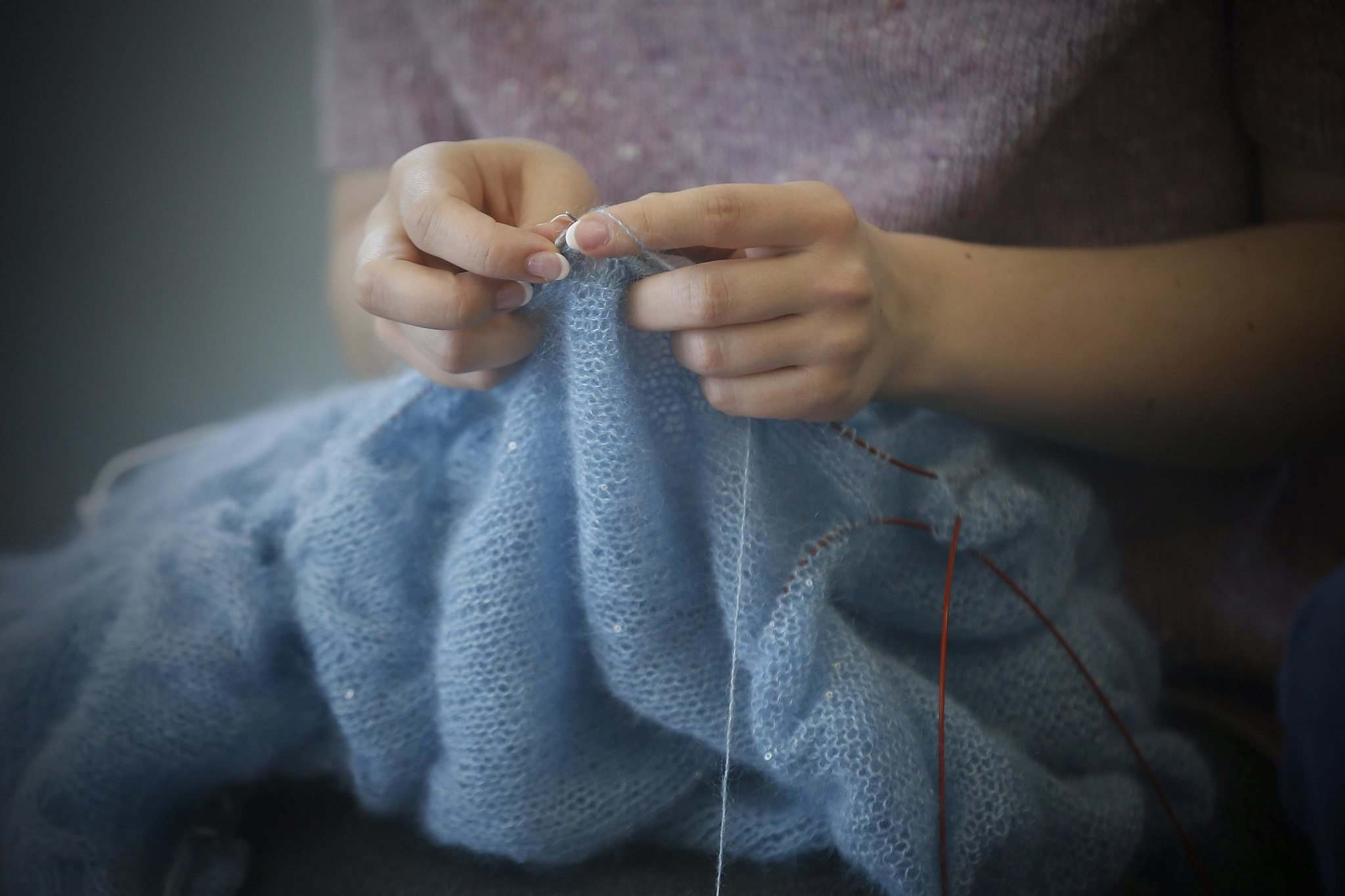 Vera Bobko knits with yak wool. Bobko adds some international flavour to the knitting group, having immigrated to Canada from Russia</p></p>