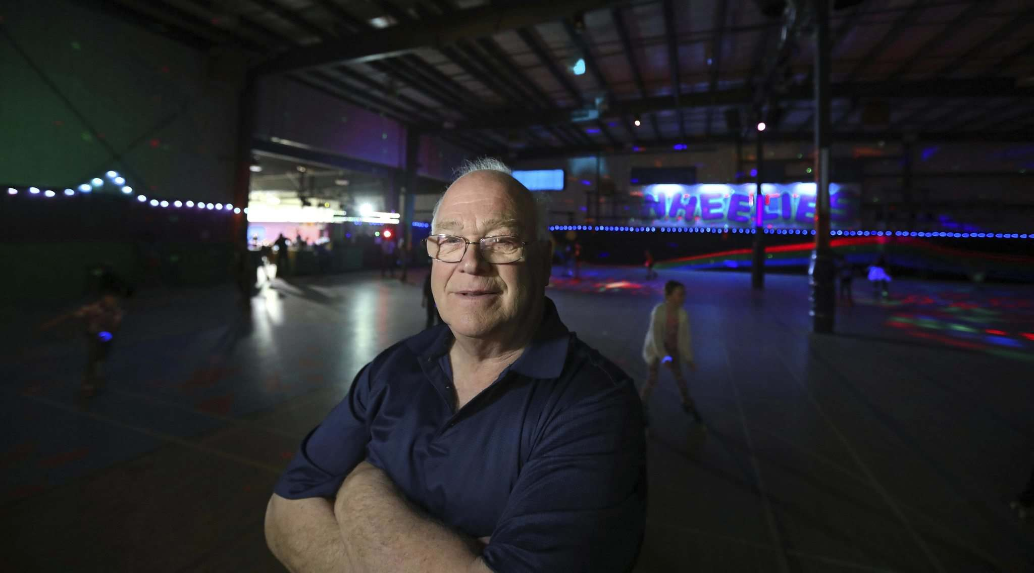 RUTH BONNEVILLE / WINNIPEG FREE PRESS FILES</p><p>Gordon Gunn, in the Wheelies Roller Rink on Logan Avenue last spring, is opening up a new location at 210 Enniskillen Ave.</p></p>