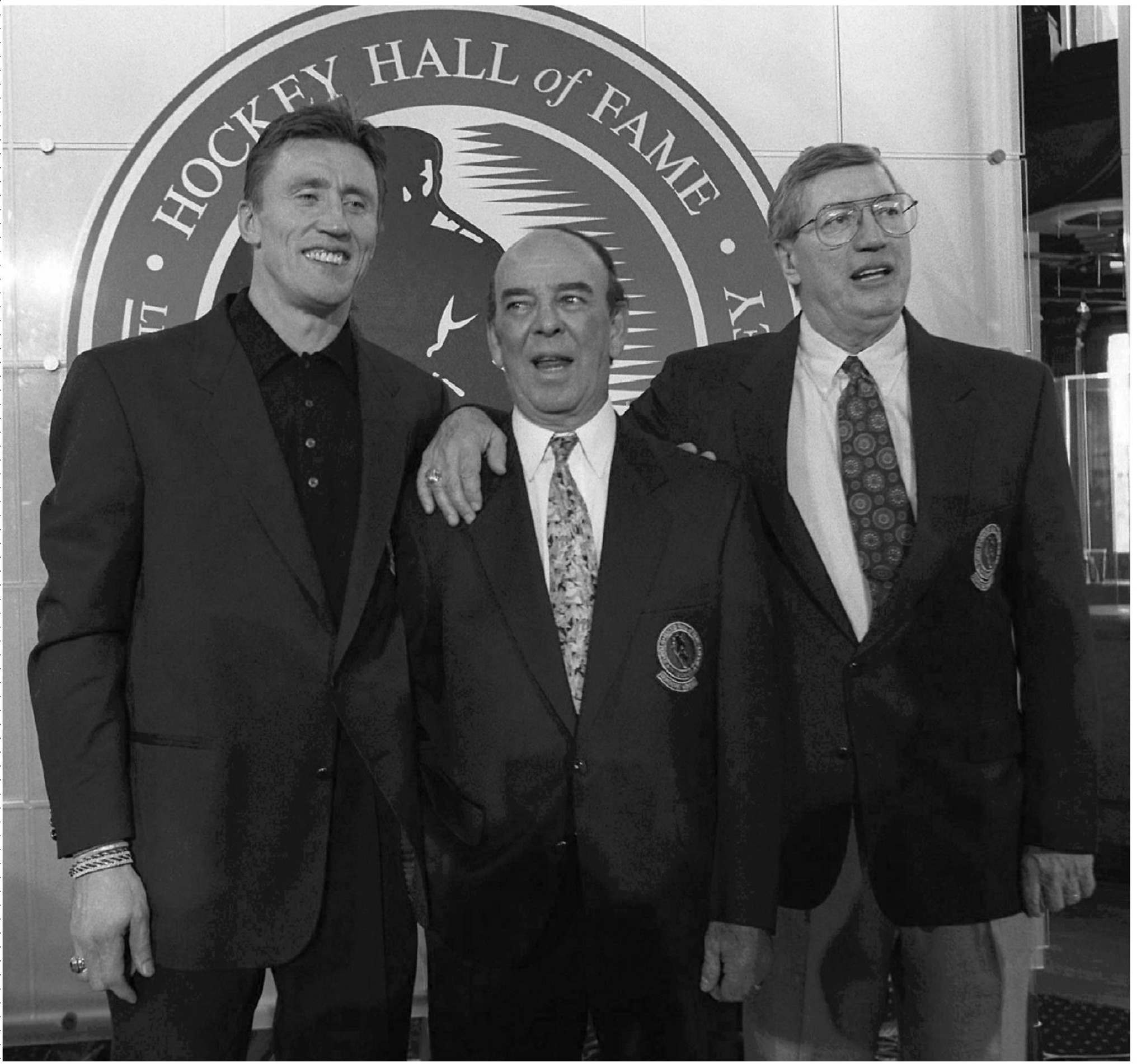 Former Toronto Maple Leaf Borje Salming (from left), Bob Cole and player and coach Al Arbour pose at a news conference in Toronto in 1996 prior to their induction into the Hockey Hall of Fame. (Moe Doiron / The Canadian Press files)