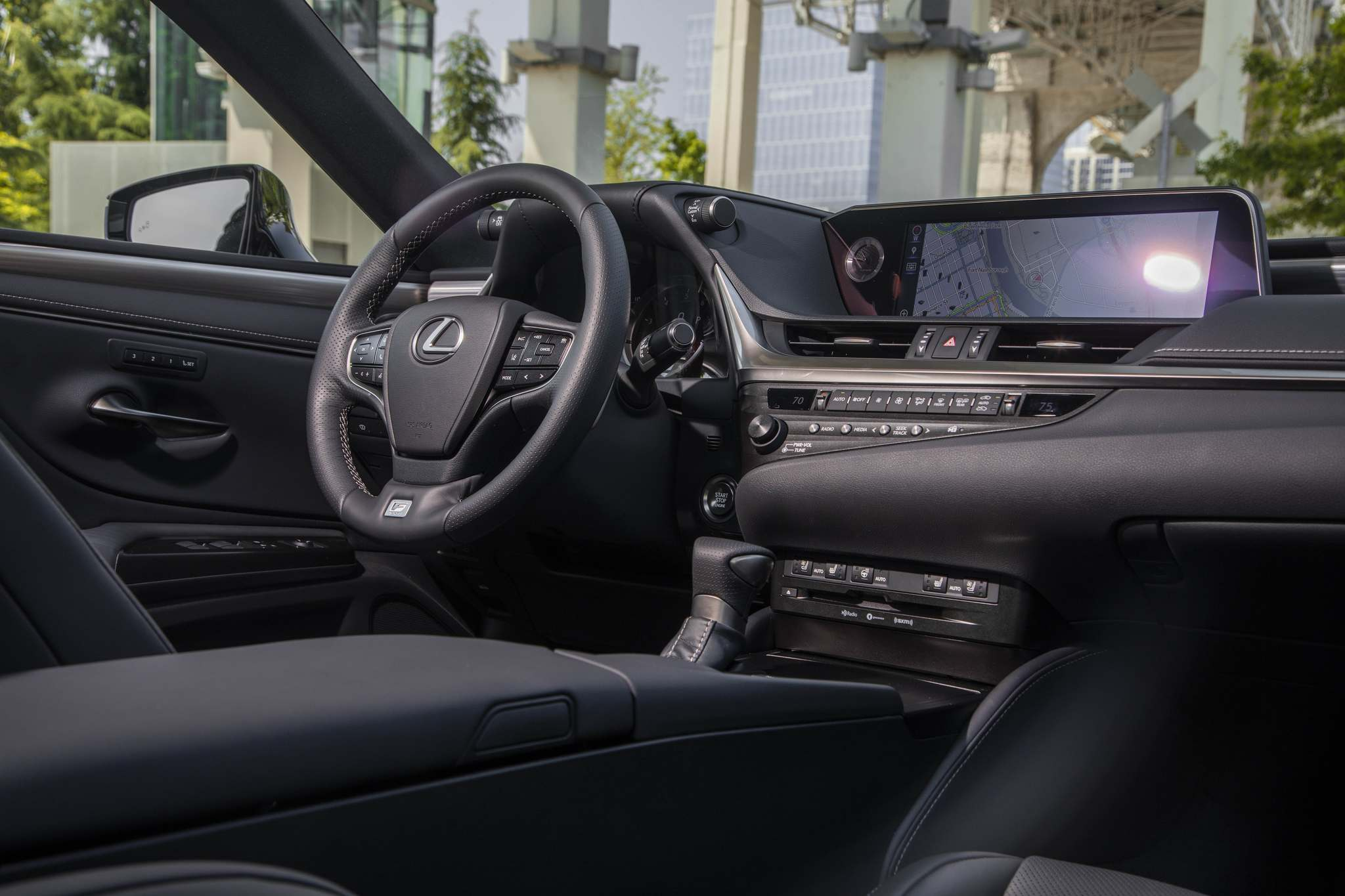 The ES 350's cabin features a 12.3-inch centre display screen controlled by the Lexus Remote Touch interface.
