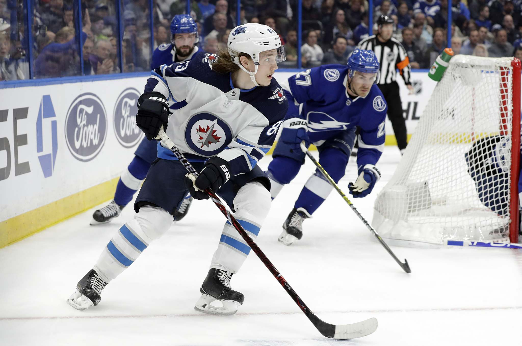 Sami Niku played some games with the Jets when they needed him, but with a healty defensive roster, he's a healthy scratch. (Chris O'Meara / The Associated Press files)</p>