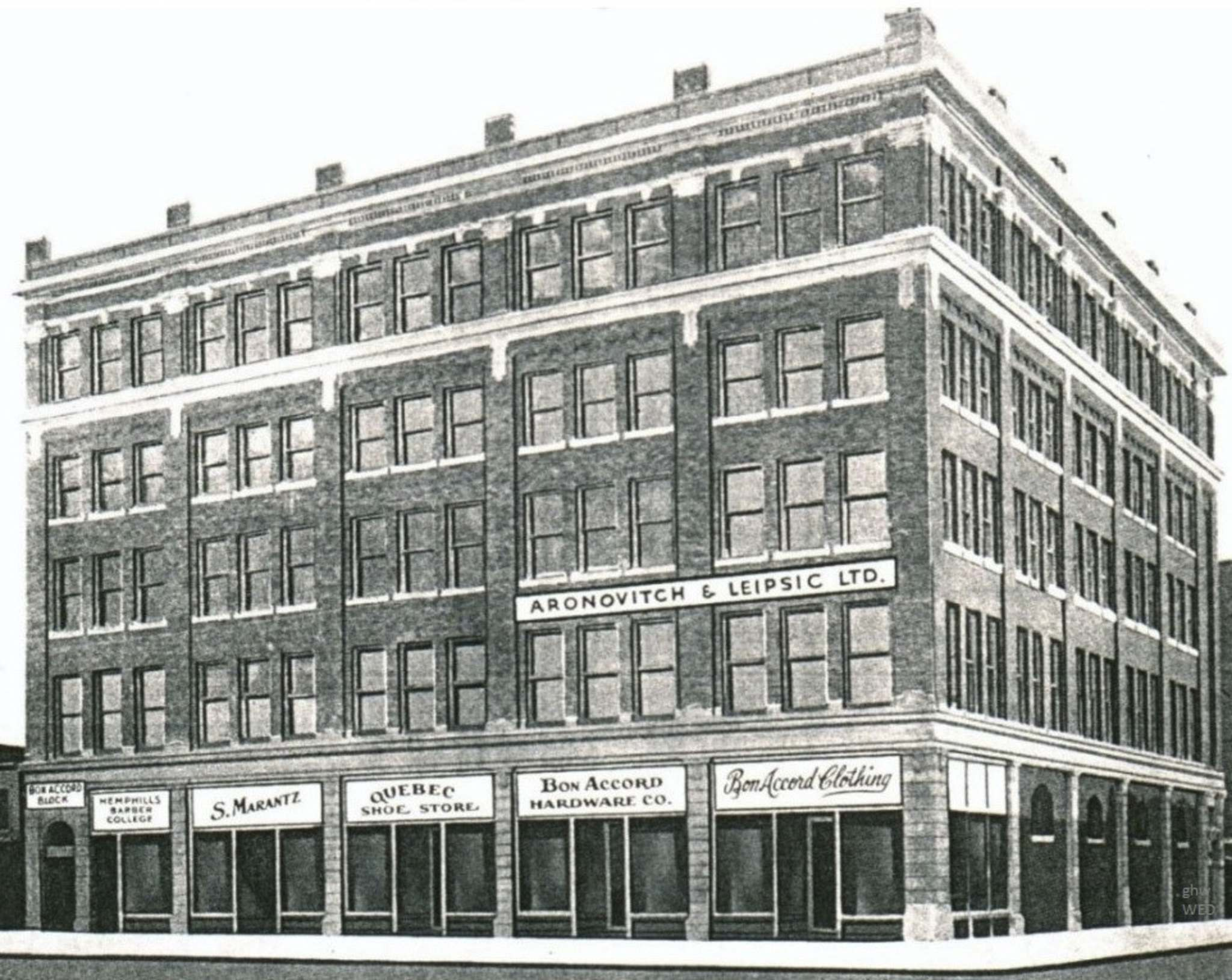 The five-storey Bon Accord building on the corner of Logan Avenue and Main Street was constructed in 1906-07.</p>