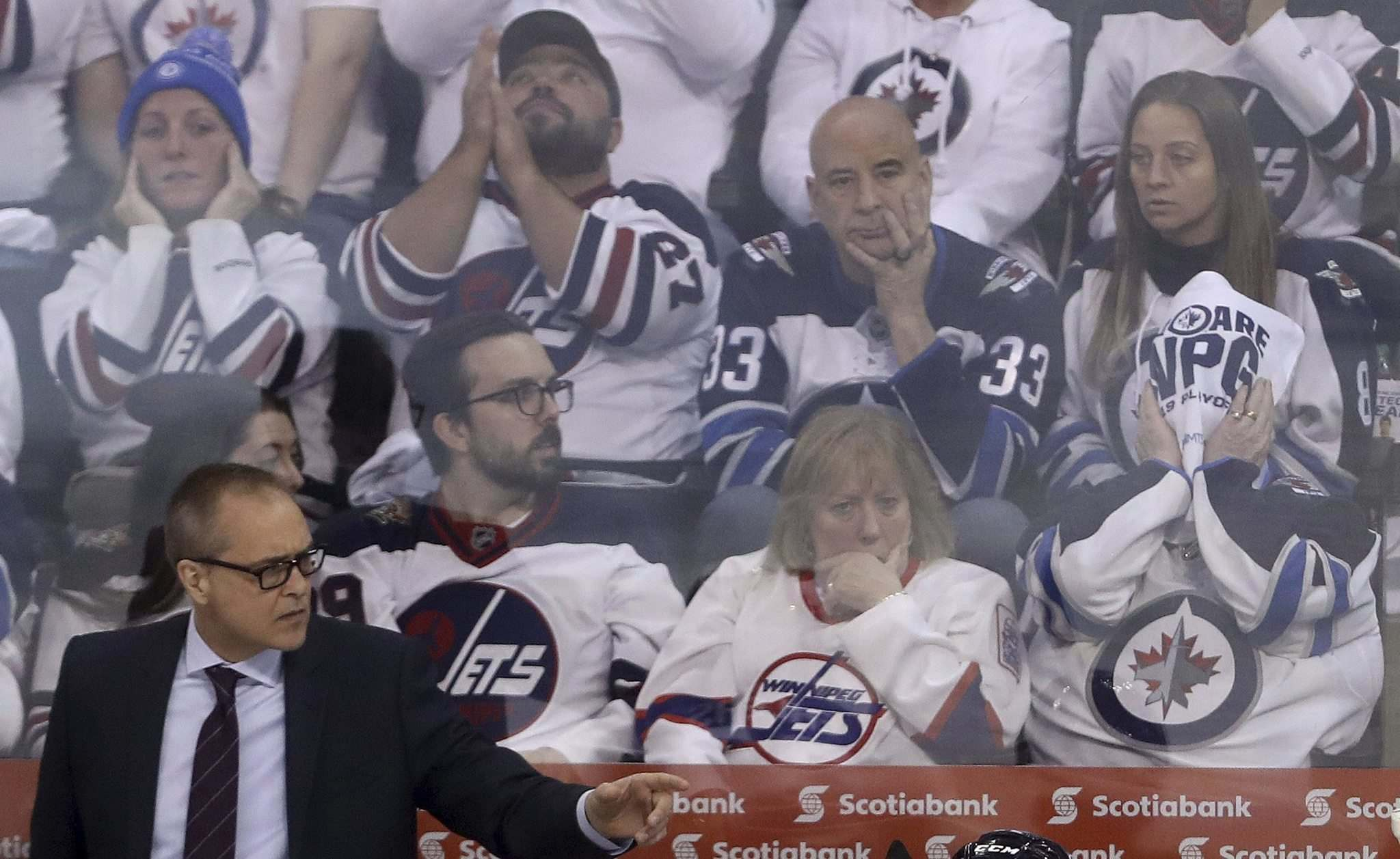 Jets fans can be excused for being on edge, but head coach Paul Maurice says his squad has to find its confidence heading into Sunday's Game 3 in St. Louis. (Trevor Hagan / Winnipeg Free Press)