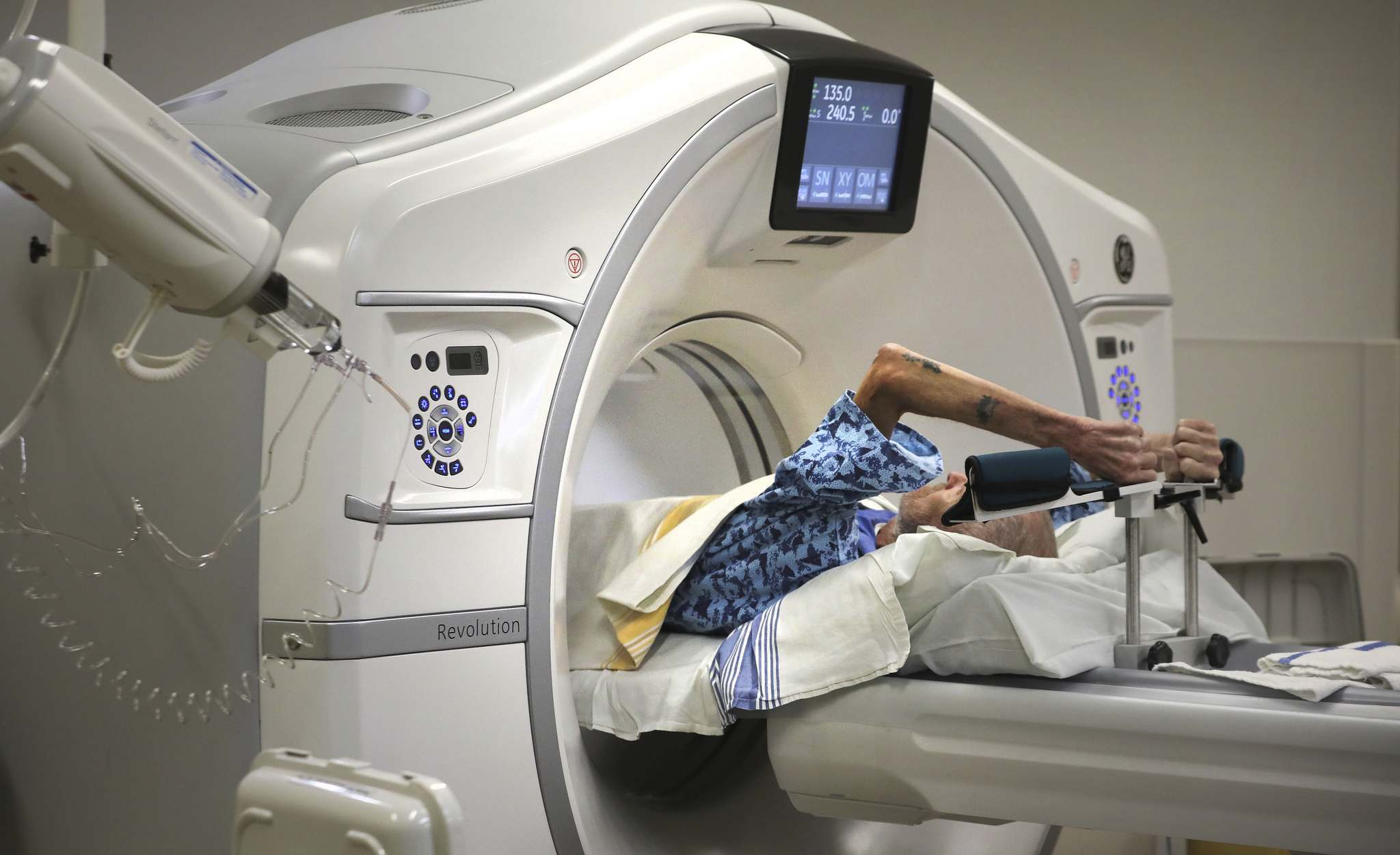 <p>A patient is prepped to have a CT scan at the Diagnostic Imaging Outpatient centre at Misericordia Health Centre, Thursday.</p>