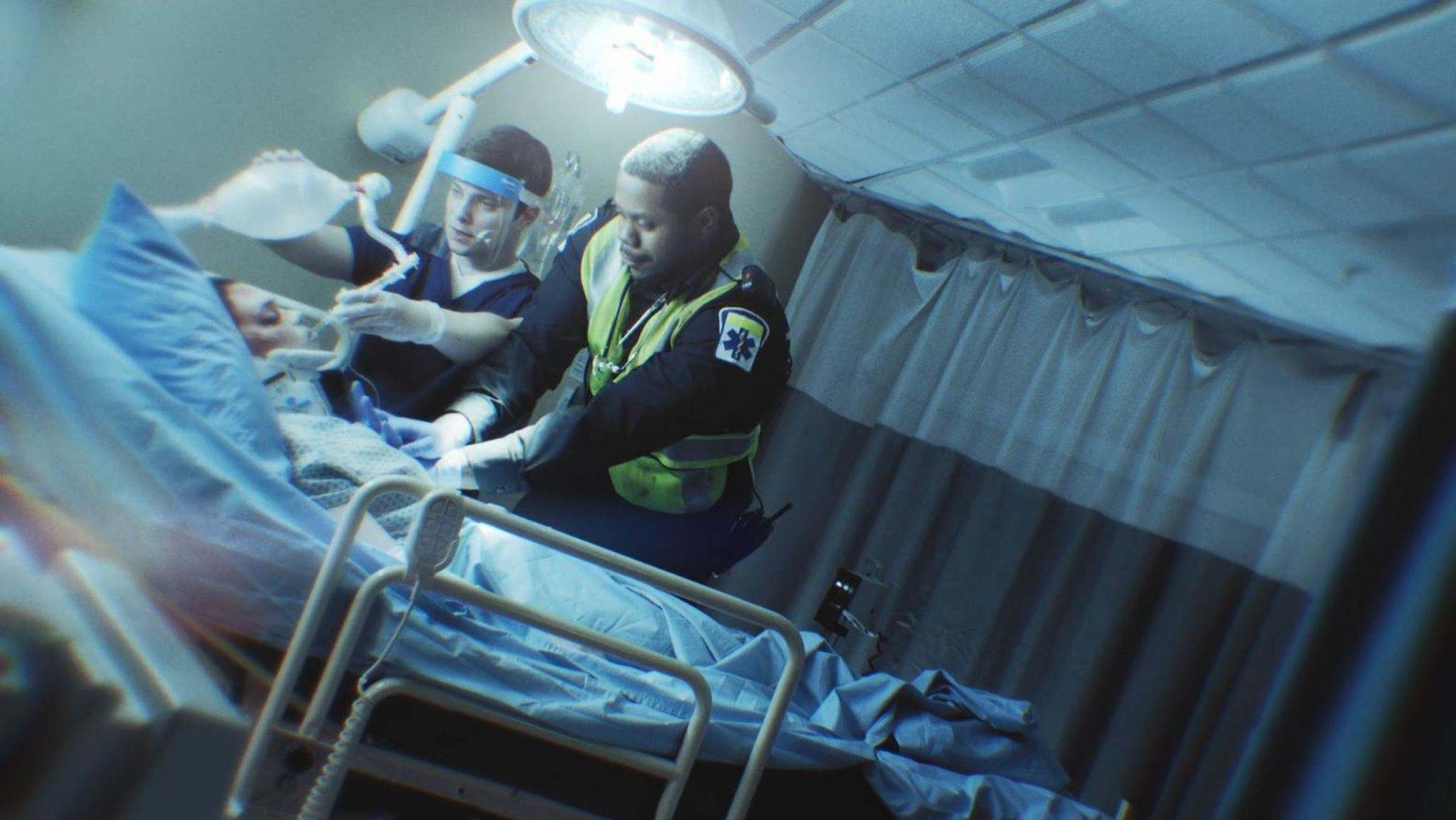 An image from the new Don't Drive High video shows a victim of a cannabis-impaired car crash dying in hospital. (Government of Canada)</p>