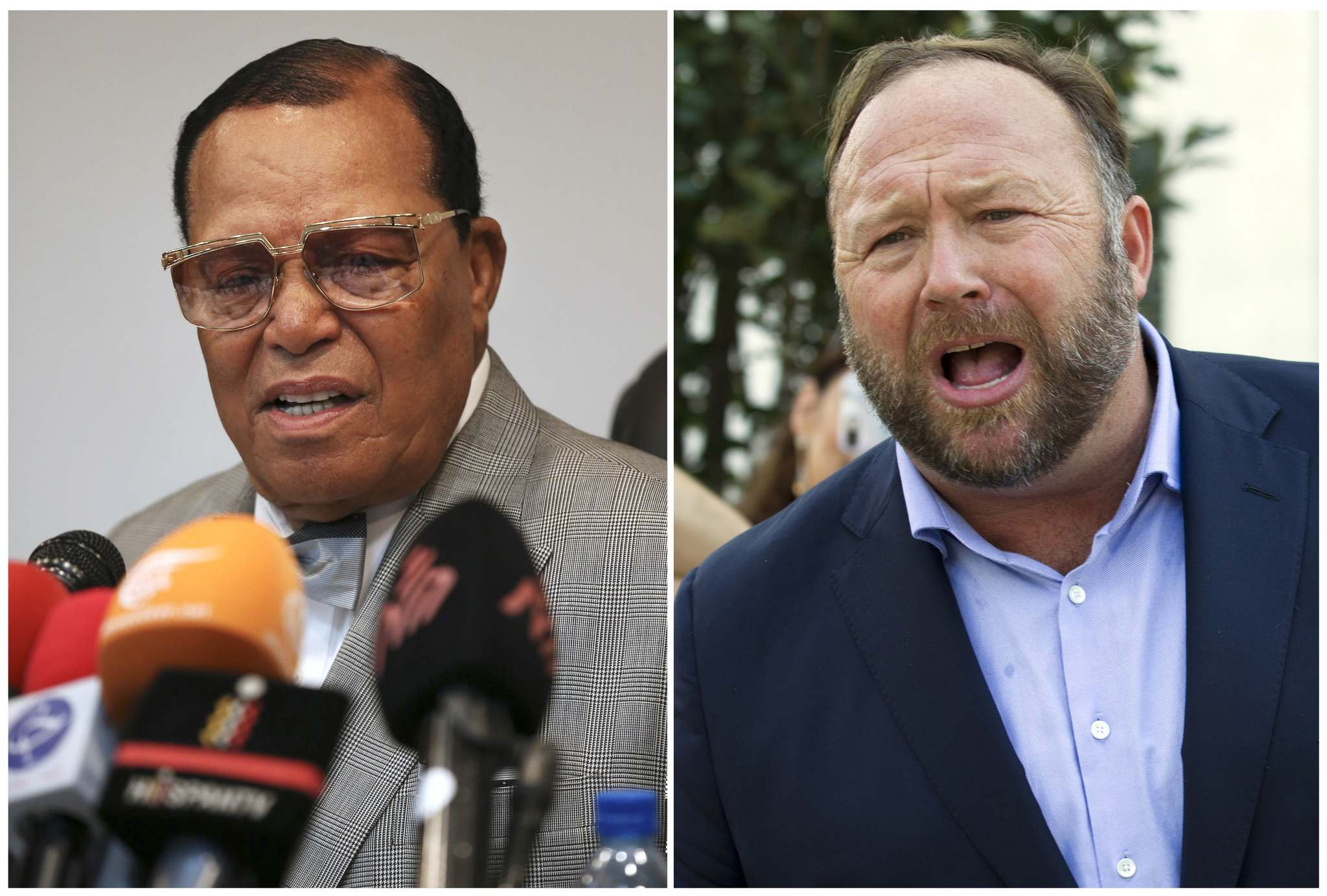 Louis Farrakhan (left), the leader of the Nation of Islam, and conspiracy theorist Alex Jones were banned by Facebook this week for violating its ban against hate and violence. (The Associated Press files)