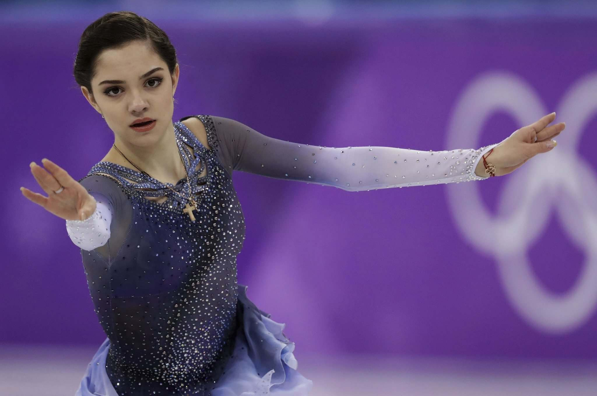 Bernat Armangue / The Associated Press files</p><p>Russian skating star Evgenia Medvedeva, performing at the Winter Olympics in South Korea in 2018, made figure-skating history at 16 when she became the first woman to win the world junior and senior championship crowns back-to-back.</p></p>