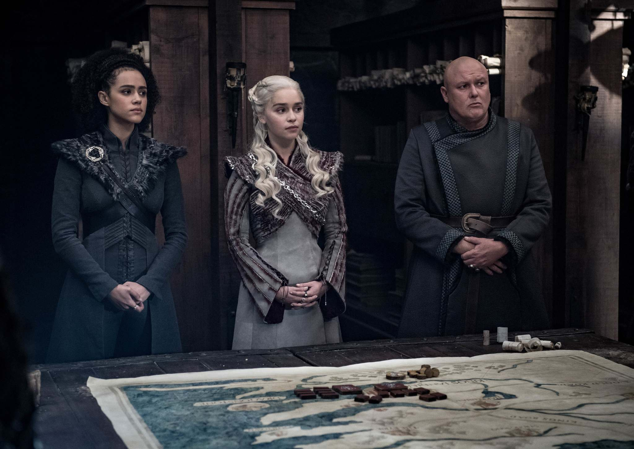 Missandei (Nathalie Emmanuel), Daenerys and Lord Varys (Conleth Hill). (Helen Sloan / HBO)