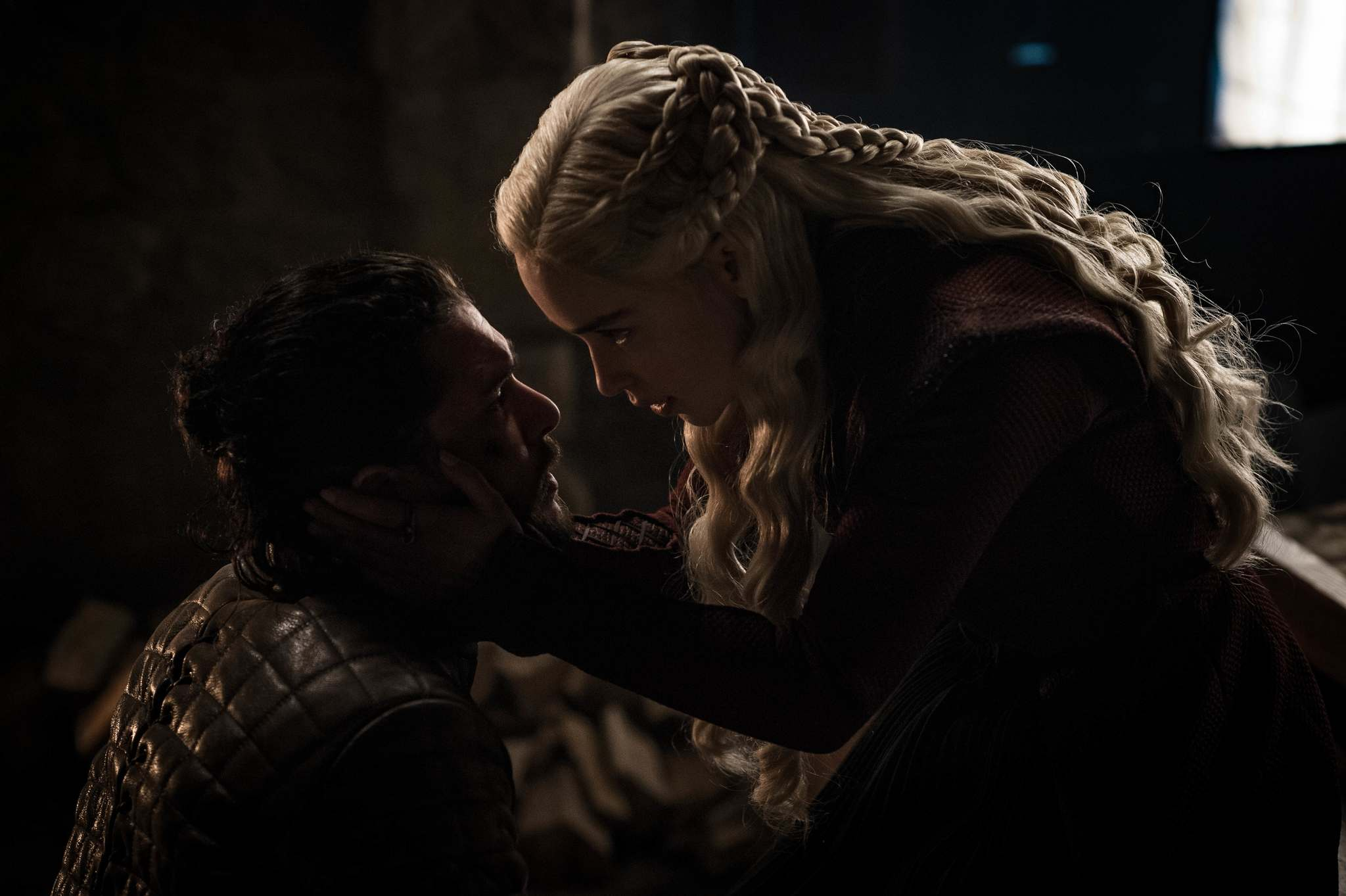 Daenerys' claims to the Iron Throne are weakened when she learns Jon Snow (Kit Harington) shares her royal Targaryen blood. (Helen Sloan / HBO)