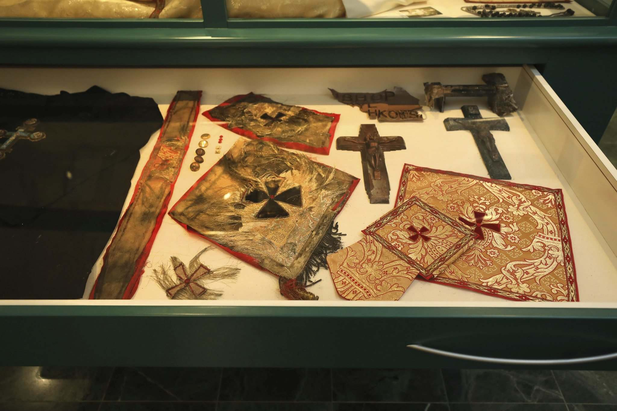 RUTH BONNEVILLE / WINNIPEG FREE PRESS</p><p>The shrine to Bishop Vasyl Velychkovsky at St. Joseph Ukrainian Catholic Church features relics such as his vestments.</p></p>