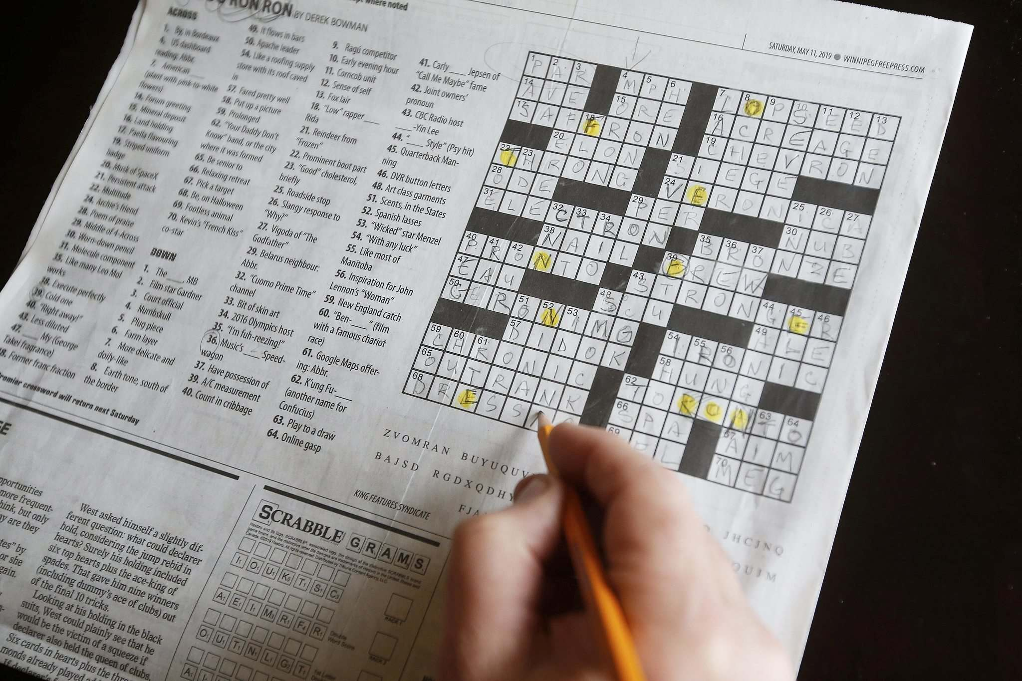 The crossword from designer Derek Bowman contained words with &#8216;Ron&rsquo; in them.</p>