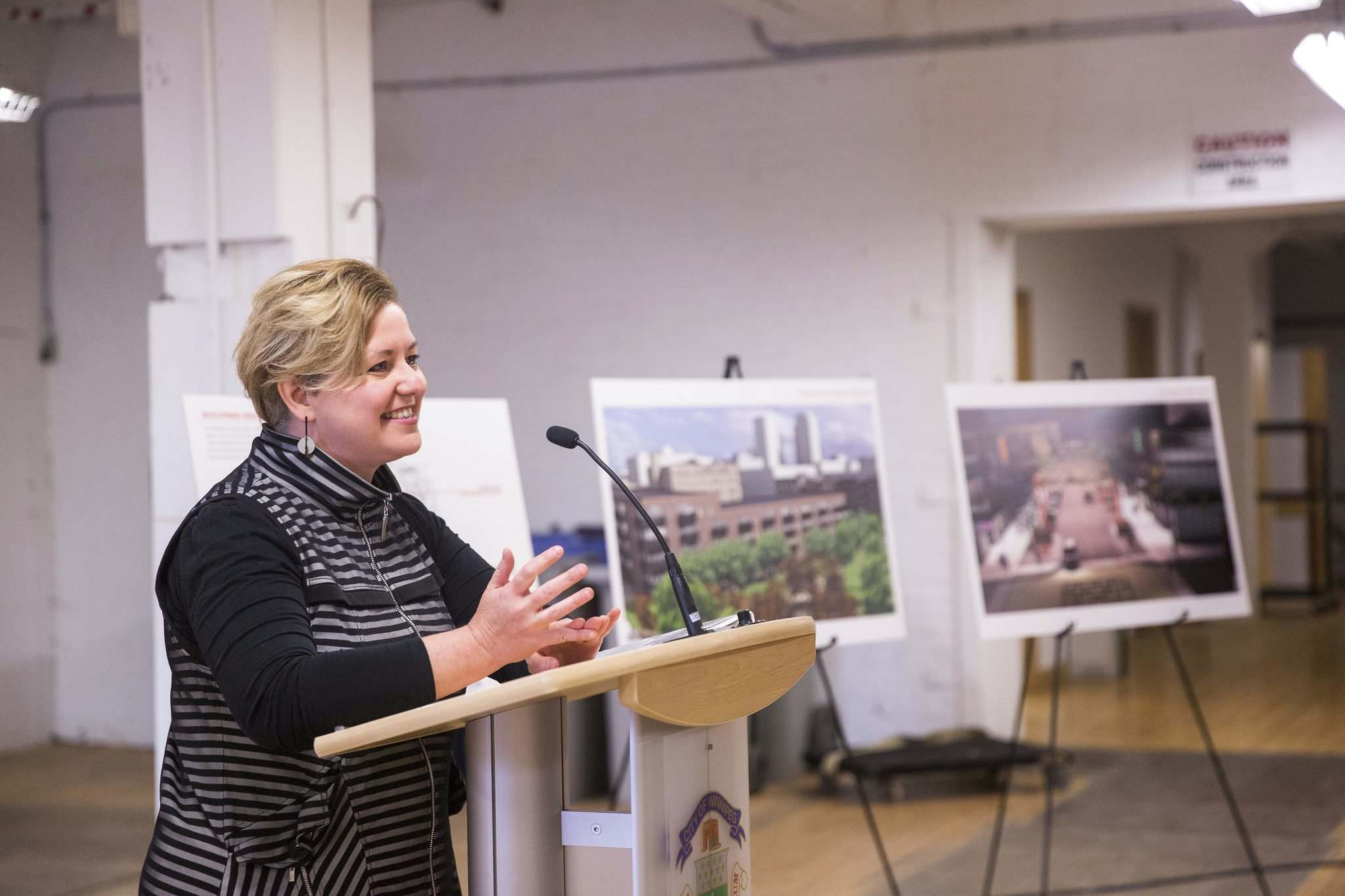 CentreVenture president and CEO Angela Mathieson said the agency hopes to see 500 new residents move into the neighbourhood over the next 10 years. (Mikaela MacKenzie / Winnipeg Free Press)</p>