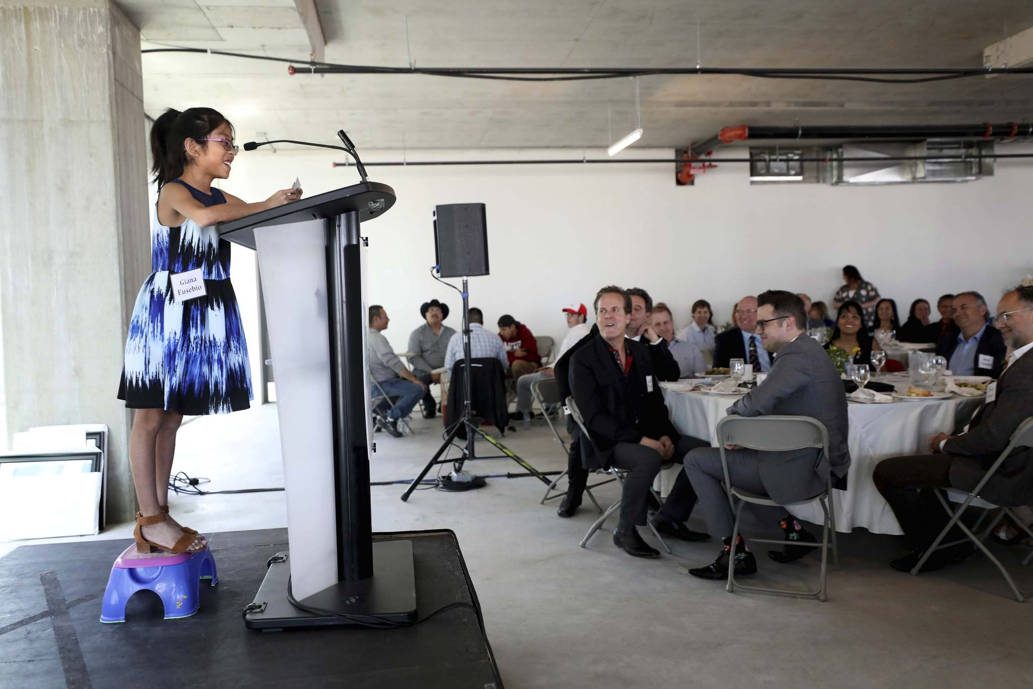 RUTH BONNEVILLE / WINNIPEG FREE PRESS LOCAL</p><p>The Children's Hospital, 2019 Champion Child – Gianna Eusebio (10 years), born pre-mature with heart problems, speaks at the Children's Hospital Foundation of Manitoba luncheon and annual general meeting held on the 8th floor of True North Square Tuesday.</p>