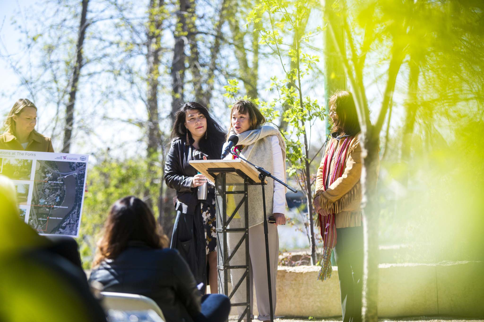 KC Adams (from left) Jaimie Isaac and Val Vint will create three new public art pieces at The Forks on the Niizhoziibean pathway. (Mikaela MacKenzie / Winnipeg Free Press)</p>