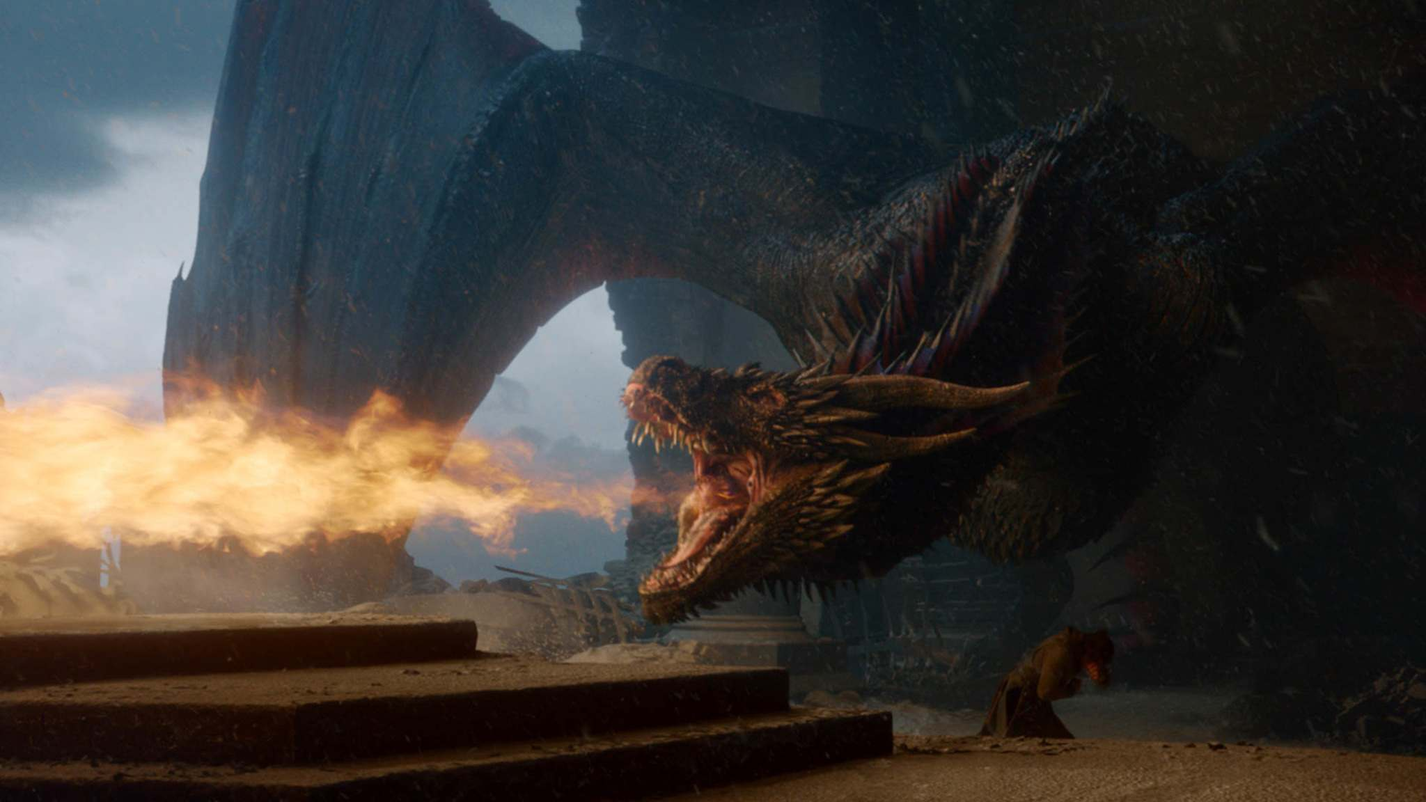 Drogon melts the Iron Throne in a fit of dragon rage. (HBO)