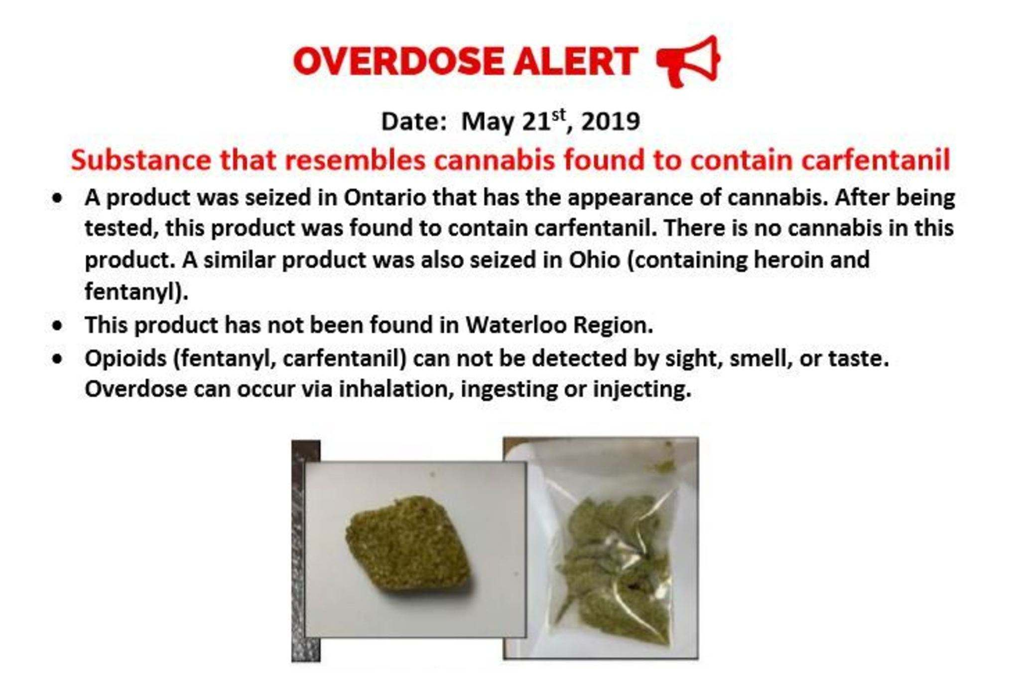 An image of the Waterloo Region Integrated Drugs Strategy alert issued May 21. The substance pictured is a fentanyl product seized by police in Ohio. (Waterloo Region Integrated Drugs Strategy)</p>