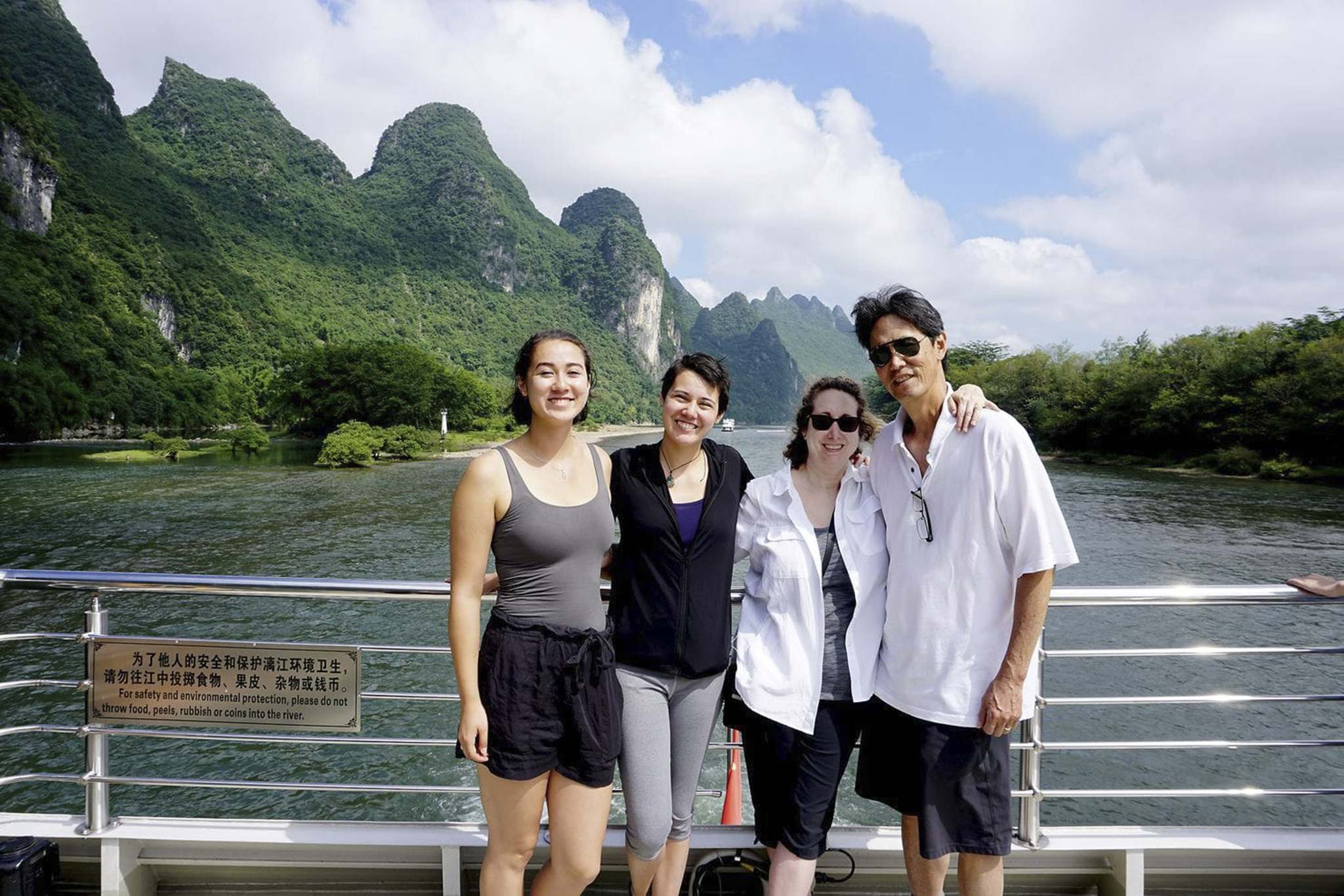 Supplied</p><p>The Chang family — children Sara (from left) and Rachel, the writer Elizabeth Chang and her husband, Darryl — enjoy a cruise down the Li River from Guilin to Yangshuo.</p>