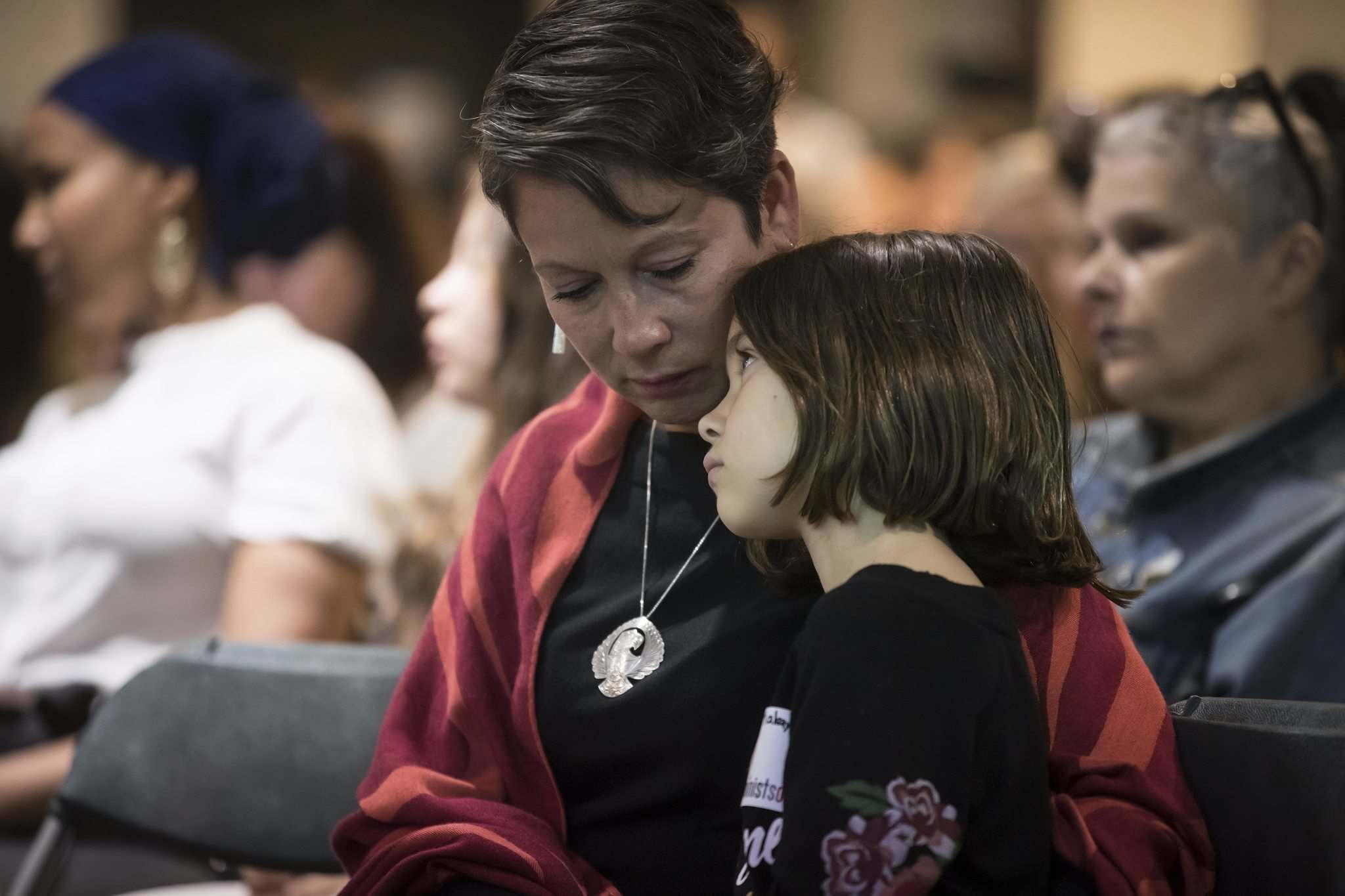 Darryl Dyck / The Canadian Press</p><p>British Columbia Minister of Advanced Education and Skills Training Melanie Mark and her daughter Makayla, 8, listen as Indigenous women and allies respond to the report on the National Inquiry into Missing and Murdered Indigenous Women and Girls, in Vancouver, on June 3.</p>