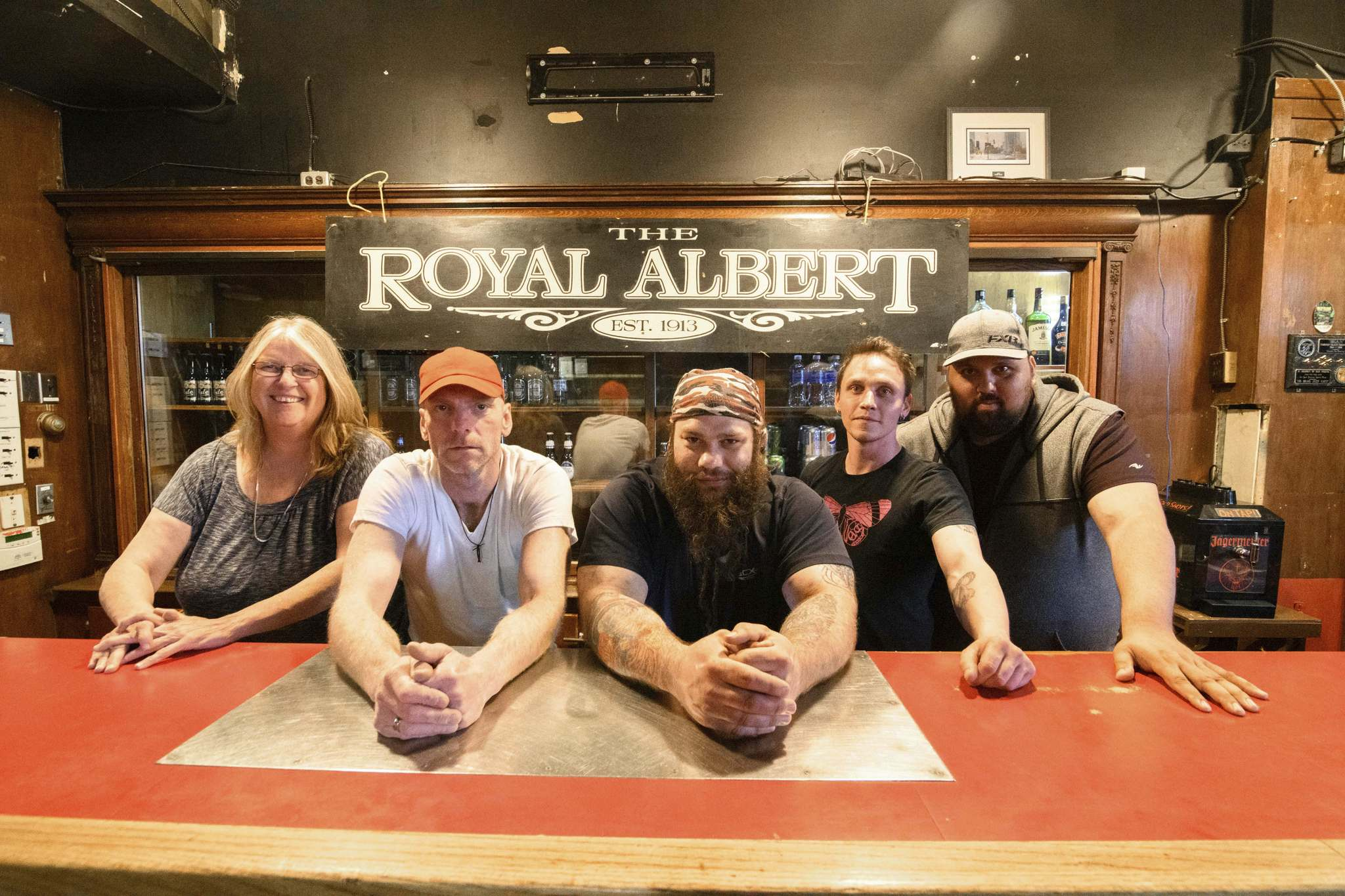 Swifte (from left), Dwayne Nicholson, Mike Chipka, Brett Hesford and Ryan Sorensen are the crew behind the Royal Albert Bar & Grill.</p>
