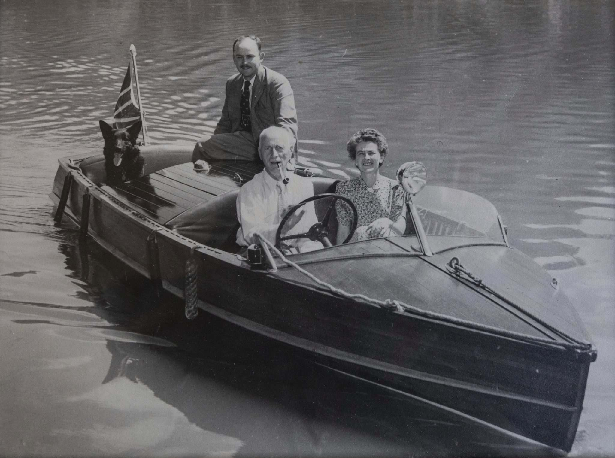 SUPPLIED</p><p>Crabb with his parents, Group Captain Herbert Philip and Doreen Crabb, as well as Trigger.</p>