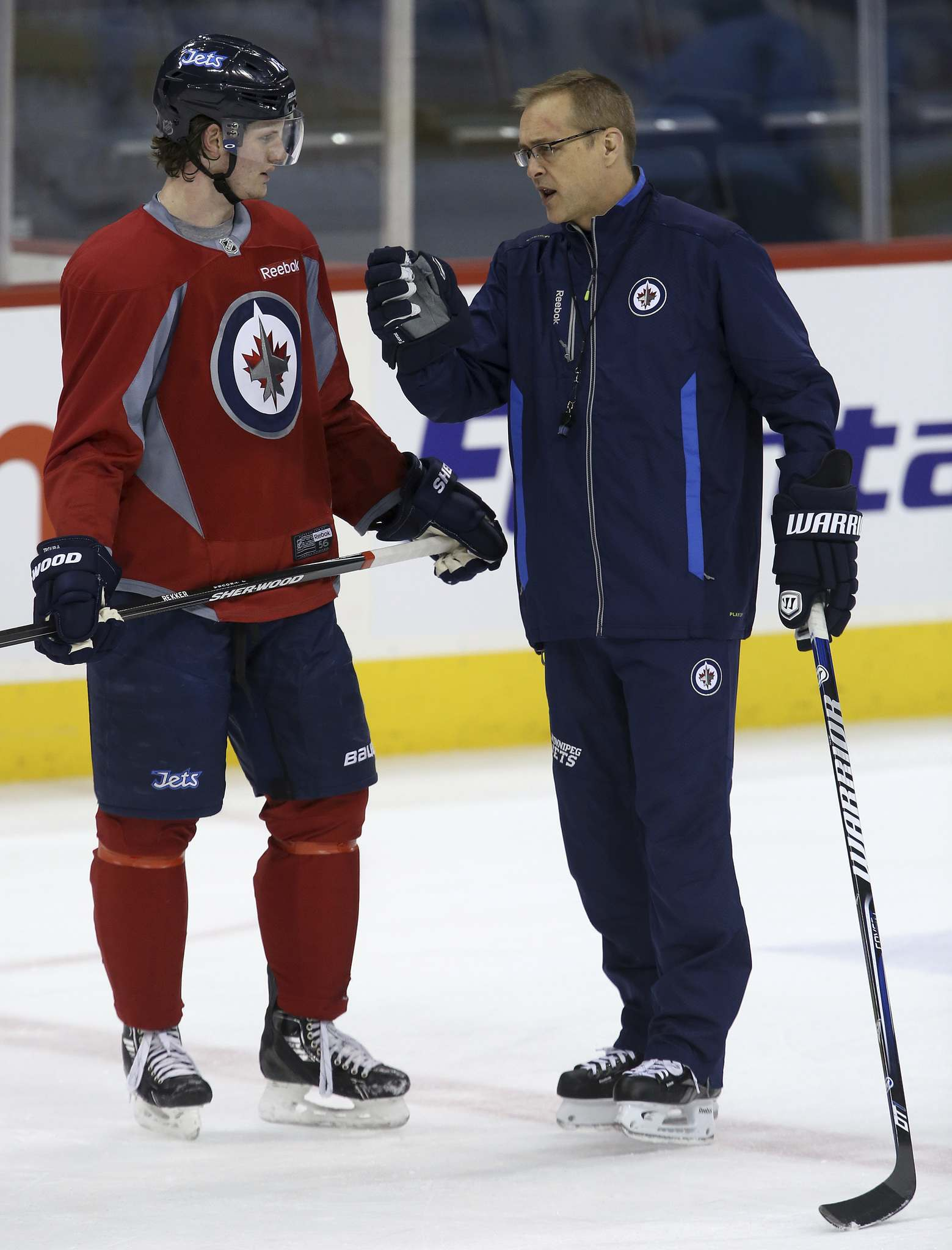 """""""Not surprised. You know it's coming. I like Jake (Jacob Trouba). The tough part is you feel like you invested in a player, especially a defenceman because they take a little while longer to get their feet wet and get comfortable, he was hitting his peak and in his prime,"""" Maurice said of the trade. (Trevor Hagan / Free Press files)"""