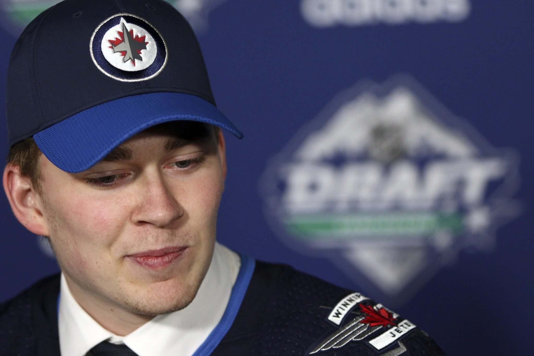 CHAD HIPOLITO / THE CANADIAN PRESS</p><p>Harrison Blaisdell speaks to media after being selected in the fifth round by the Winnipeg Jets during the second day of the NHL draft on Saturday.</p></p>