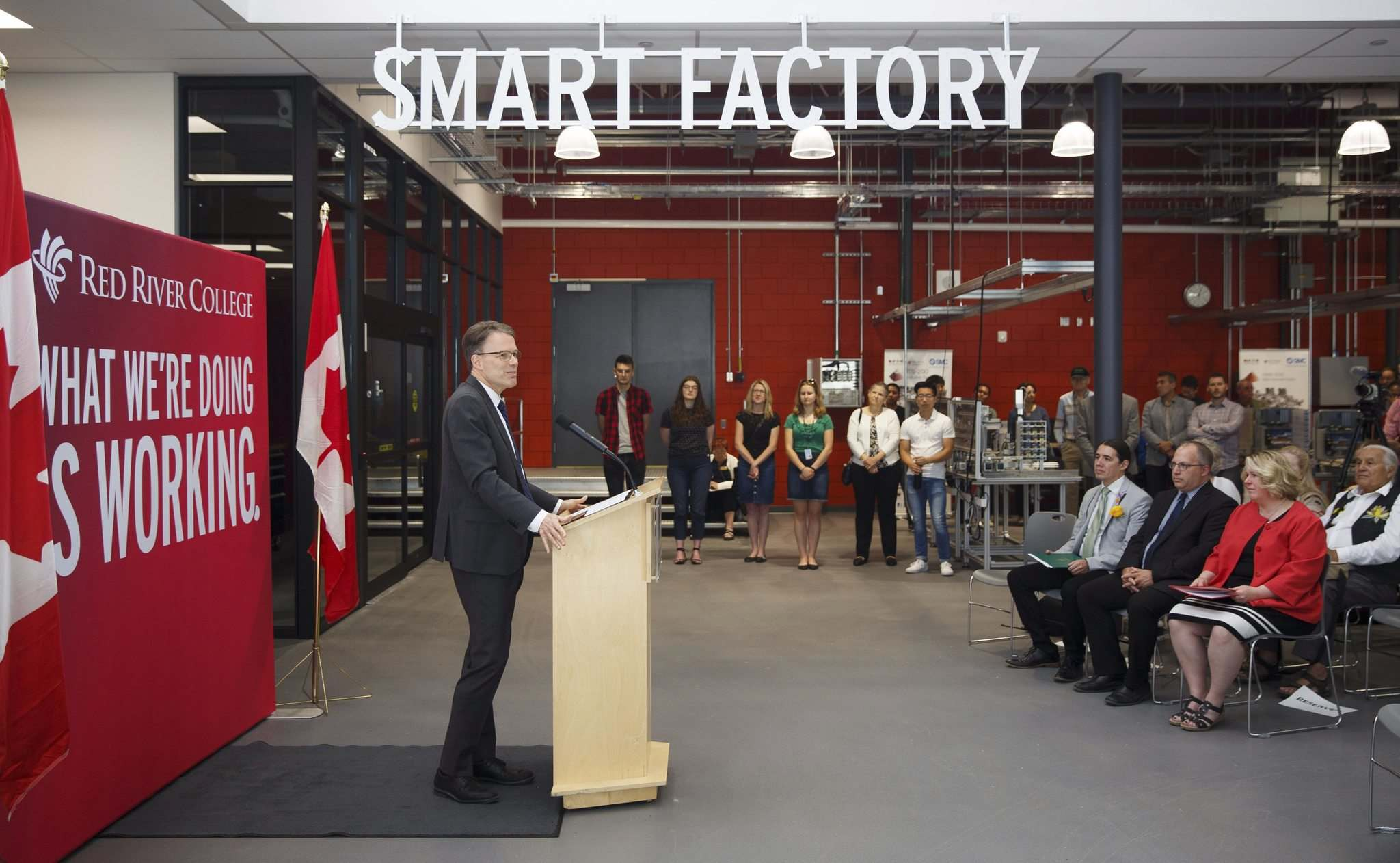 <p>Red River College president and CEO Paul Vogt speaks at the official opening of the institution's brand-new Smart Factory research and learning space on Friday morning.</p>