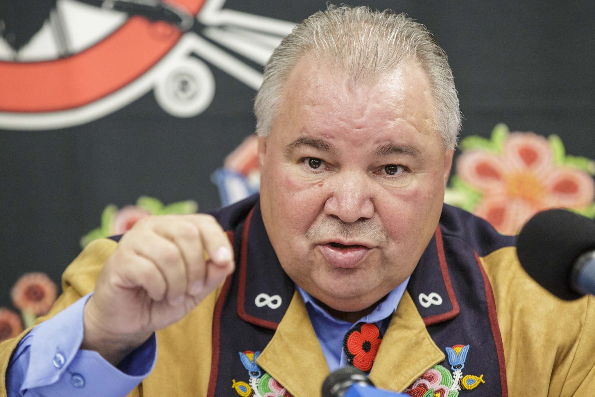 "MIKE DEAL / WINNIPEG FREE PRESS FILES</p><p>Manitoba Metis Federation President David Chartrand: ""Everybody's saying they're not being consulted. I'm going to hold (Pallister) accountable for this and make sure he doesn't get away with this.""</p>"