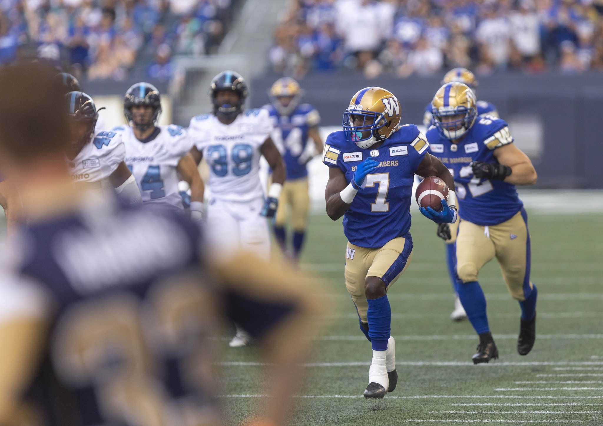 SASHA SEFTER / WINNIPEG FREE PRESS</p><p>Winnipeg Blue Bombers wide receiver Lucky Whitehead returns the games opening kickoff for a touchdown against the Toronto Argonauts at IG Field on Friday night.</p>