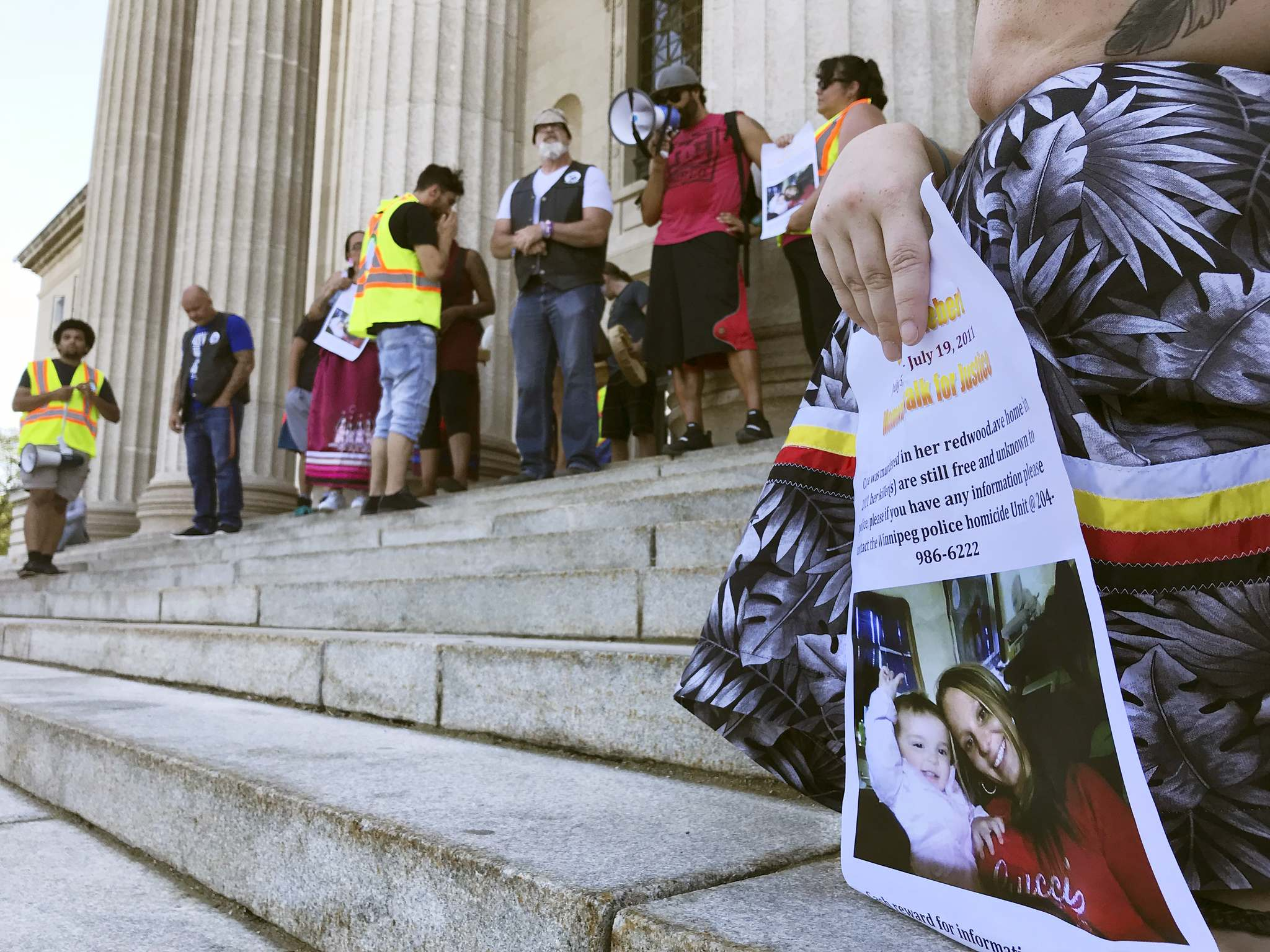 RYAN THORPE / WINNIPEG FREE PRESS</p><p>Roughly 70 people marched from the North End to the steps of the Manitoba Legislative Building Friday in honour of the eighth anniversary of the murder of Cara Lynn Hiebert.</p>