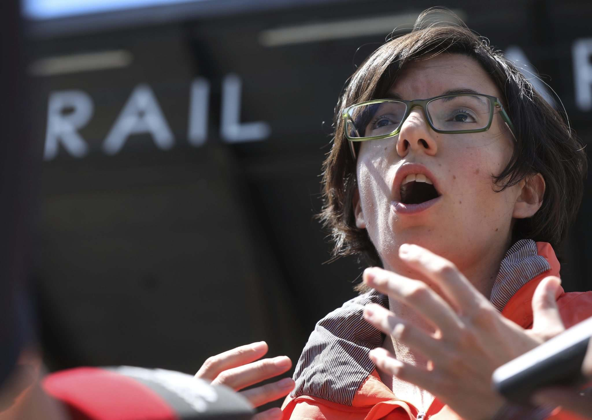 RUTH BONNEVILLE / WINNIPEG FREE PRESS</p><p>Niki Ashton, MP of Churchill—Keewatinook Aski, passionately describes to the media the frustration the community of Churchill has with OminiTRAX backing down on fixing the rail line to their community after visiting Churchill and listening to residents yesterday. Ashton held a press conference outside Union Station in Winnipeg Wednesday.</p><p>See Alex Paul story.</p><p>July 04,2018</p>