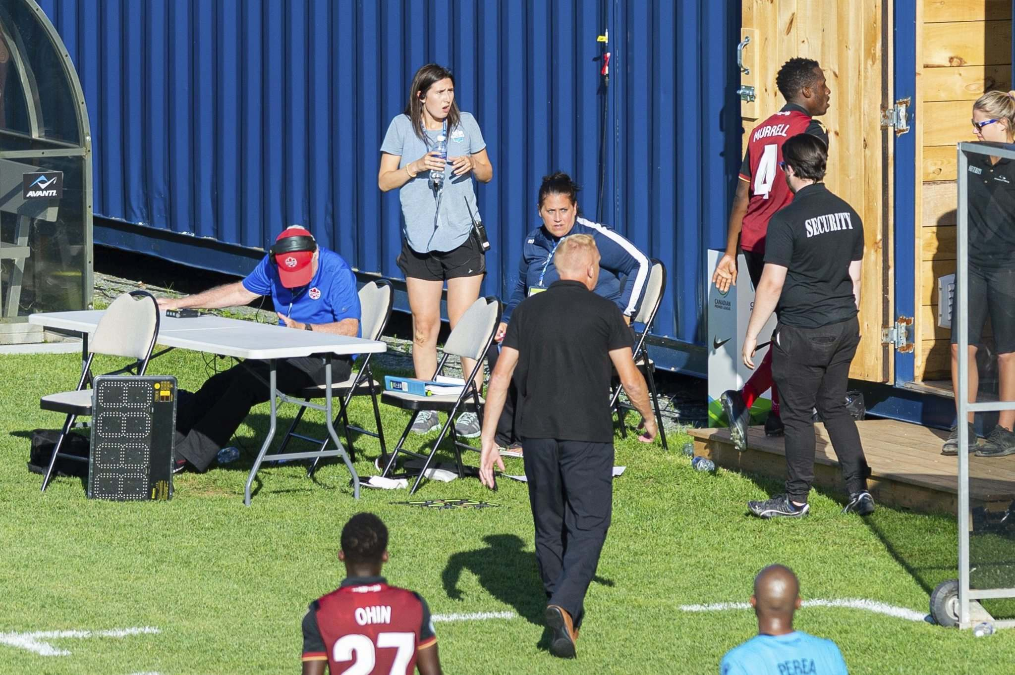Murrell leaves the pitch after being ejected from the game by the referee Monday.