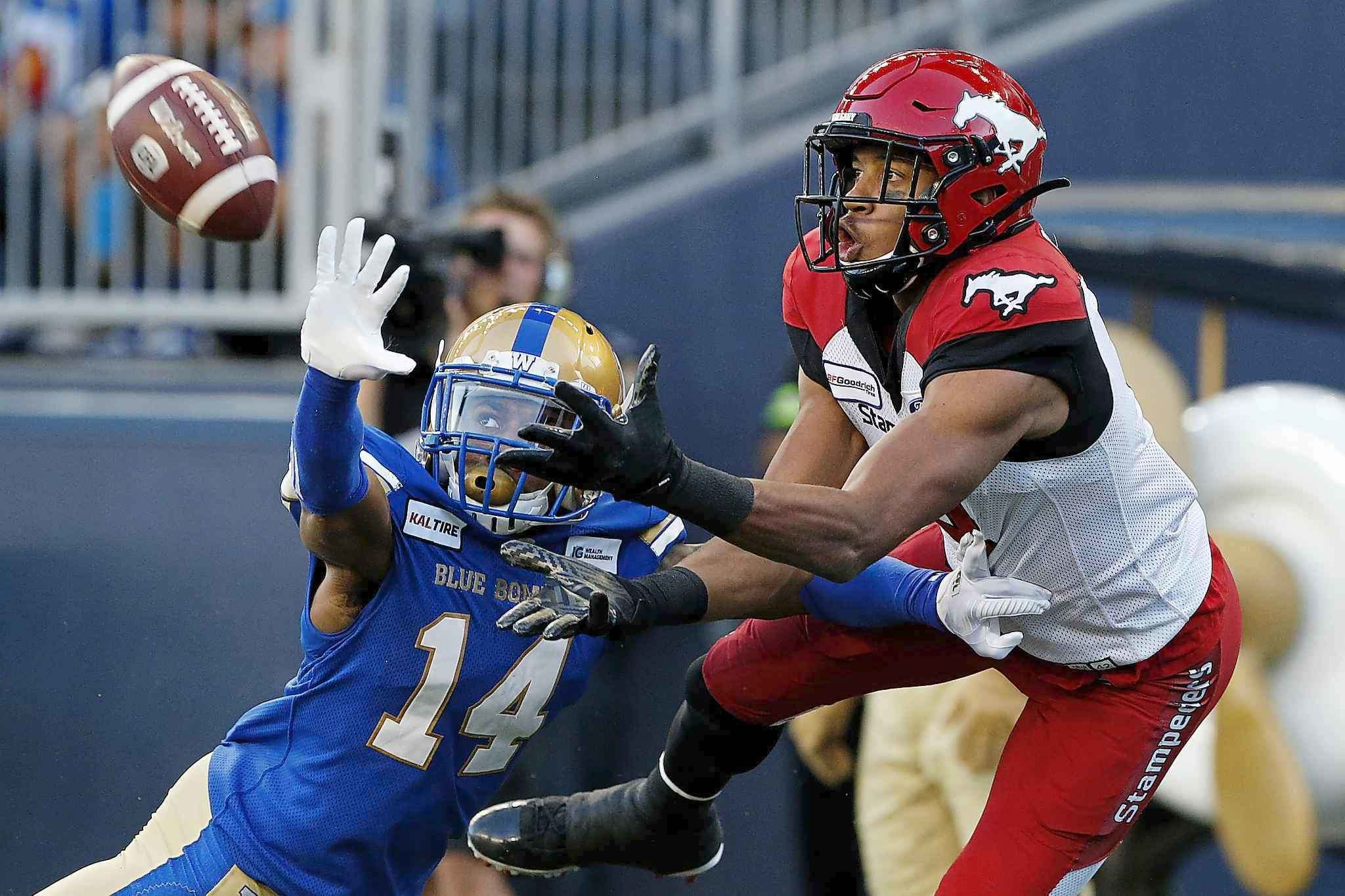 JOHN WOODS / THE CANADIAN PRESS FILES</p><p>A big play was needed and the Bombers' Marcus Sayles came up with the massive interception in the end zone.</p>