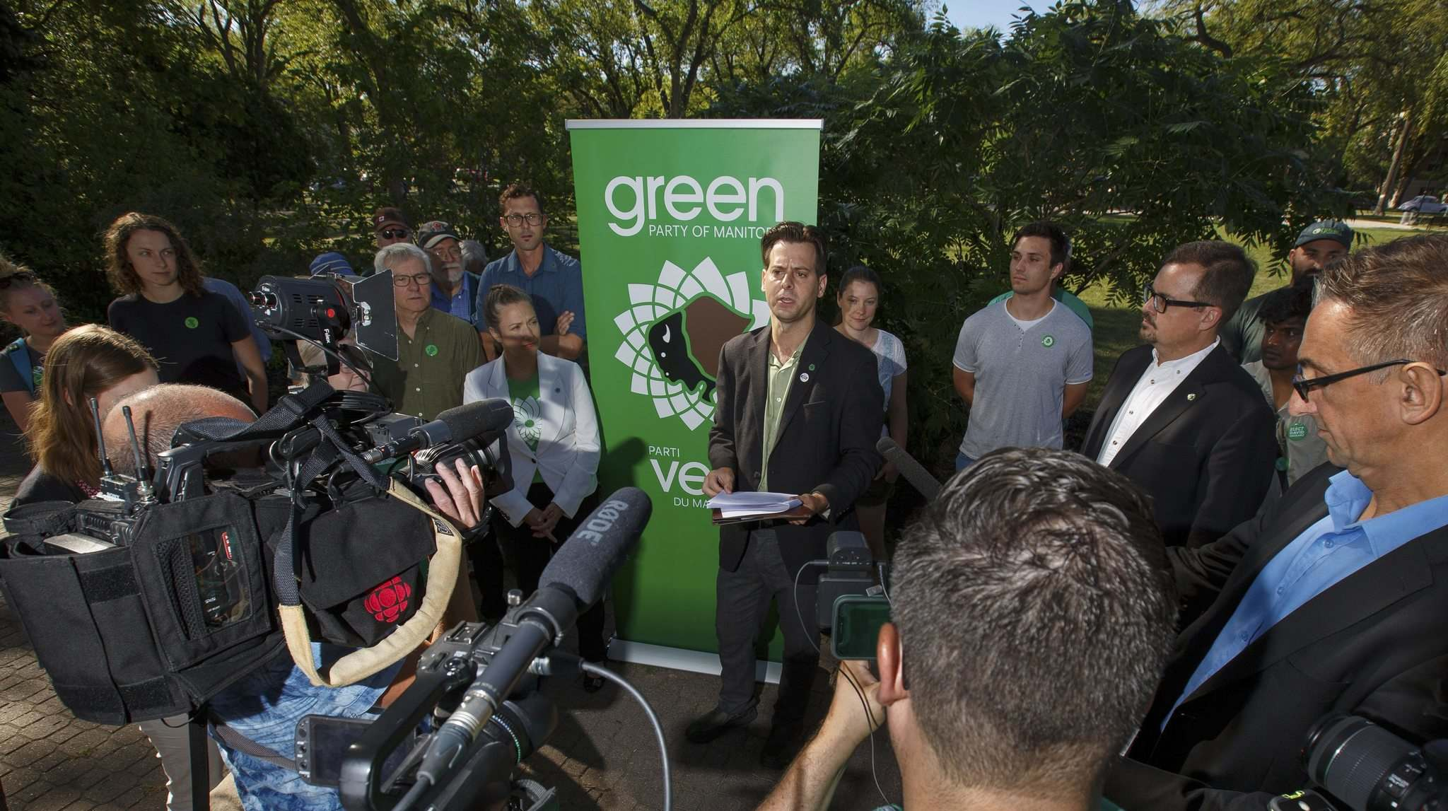 "Leader James Beddome sketched out the broad strokes of the Greens' election platform at a press conference Friday, saying, ""We are not a one-issue party."" (Mike Deal / Winnipeg Free Press)</p>"