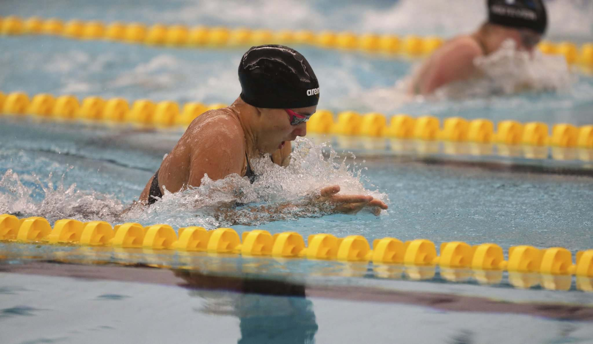 <p>Manitoban swimmer Kelsey Wog competes in the 50-metre breaststroke heats at the Pan Am Pool on Friday.</p>