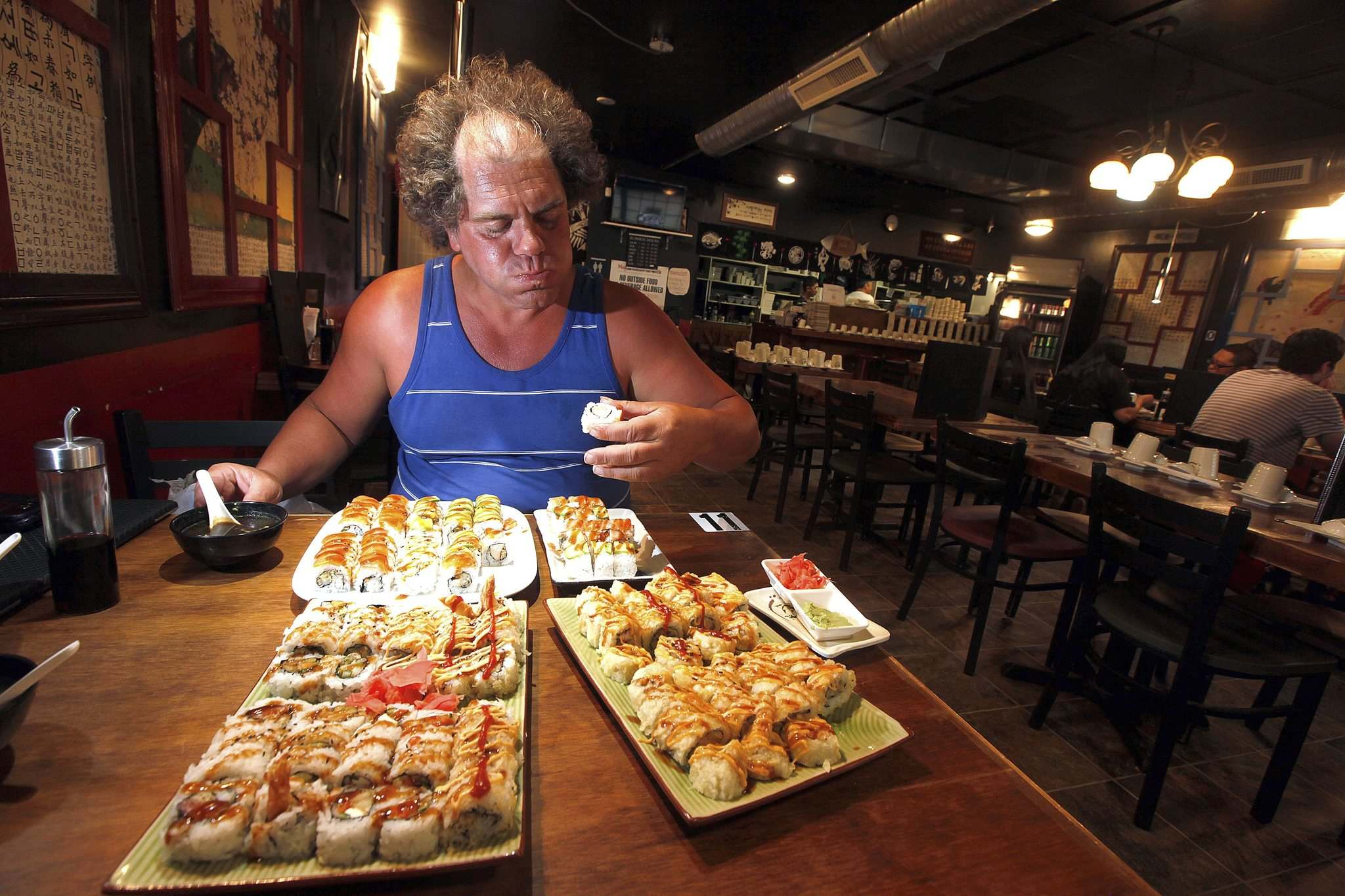 PHIL HOSSACK / WINNIPEG FREE PRESS</p><p>Professional eater John Jugovich finished off 46 perogies Friday night to win the eating contest at the Spirit of Ukraine Pavilion at Folklorama. On Saturday he was craving sushi.</p></p>