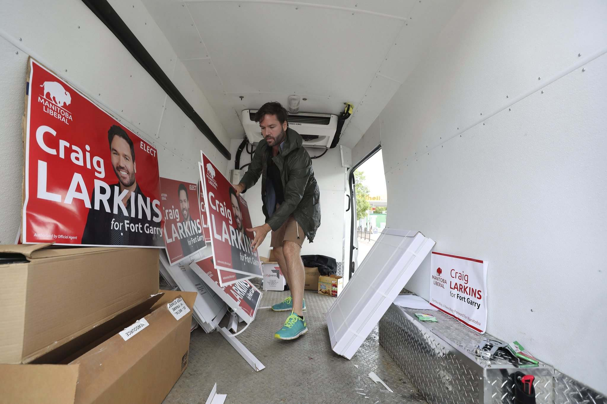 RUTH BONNEVILLE / WINNIPEG FREE PRESS</p><p>Liberal candidate Craig Larkins in his mobile campaign office. Larkins says accessible, reliable and affordable public transit is a key campaign issue.</p>
