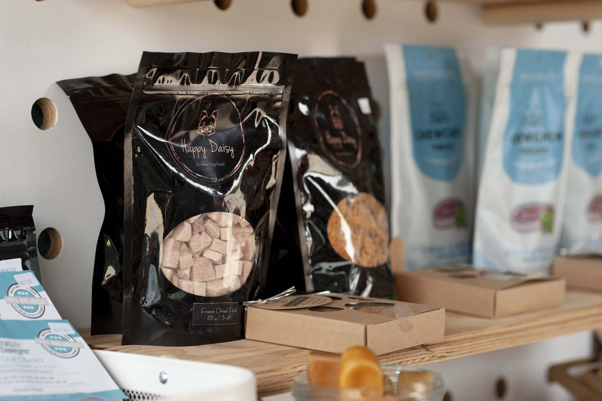 Happy Daisy Gourmet Dogfood is a Winnipeg enterprise that, among other delicacies, offers kangaroo jerky, freeze-dried bison and salmon-trail-mix cookies. (Mike Sudoma / Winnipeg Free Press)