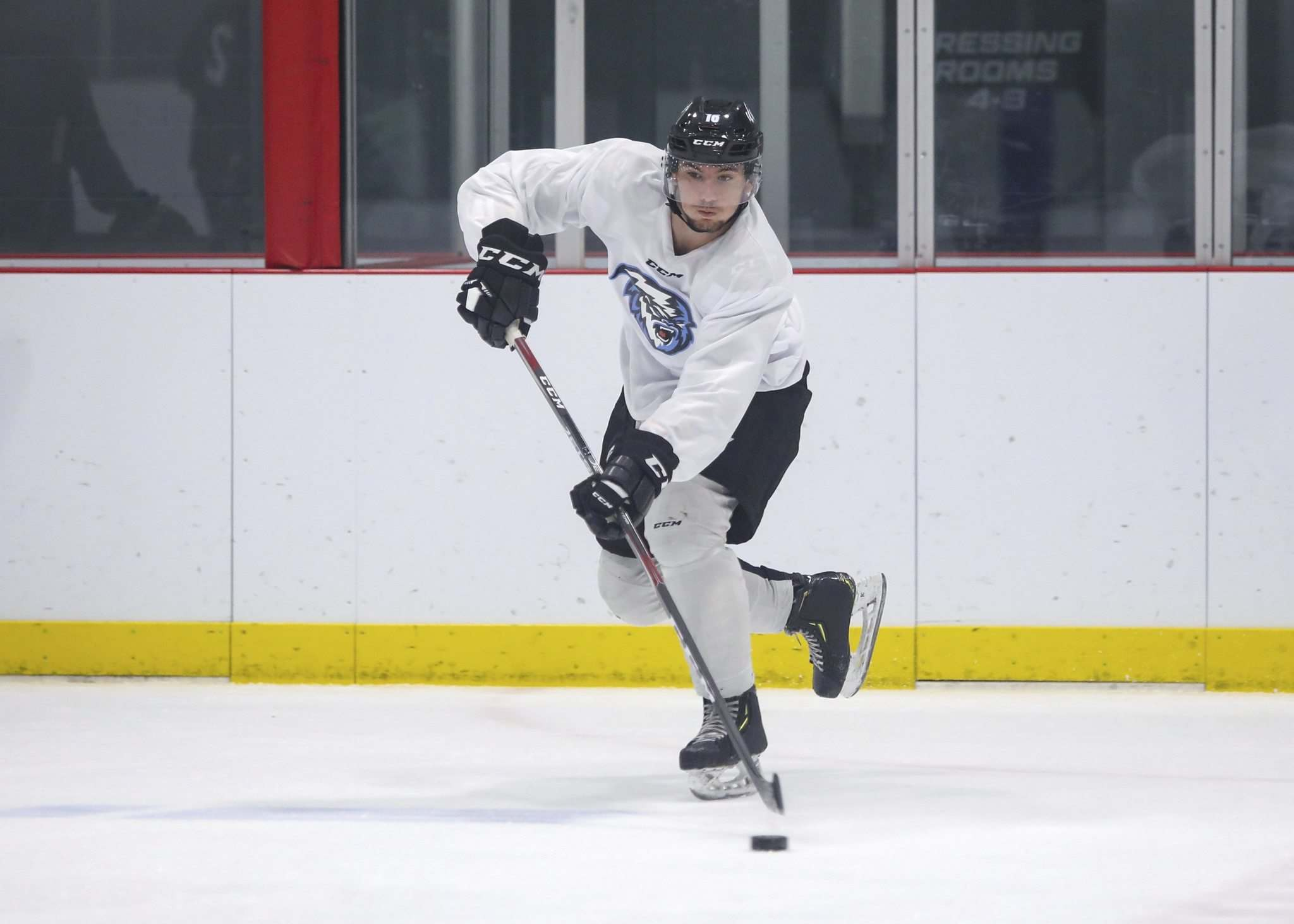 SASHA SEFTER / WINNIPEG FREE PRESS</p><p>The Ice's Nino Kinder takes part in training-camp drills Thursday at the Rink Training Centre.</p>
